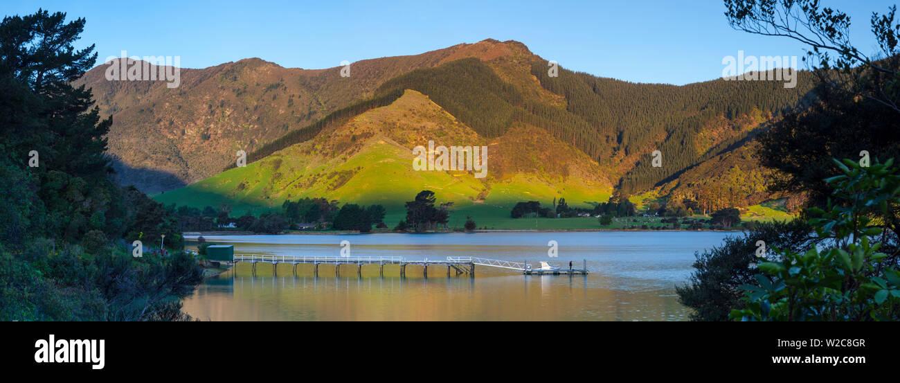 Il pittoresco molo di Kenepuru idilliaco Suono, Marlborough Sounds, Isola del Sud, Nuova Zelanda Immagini Stock