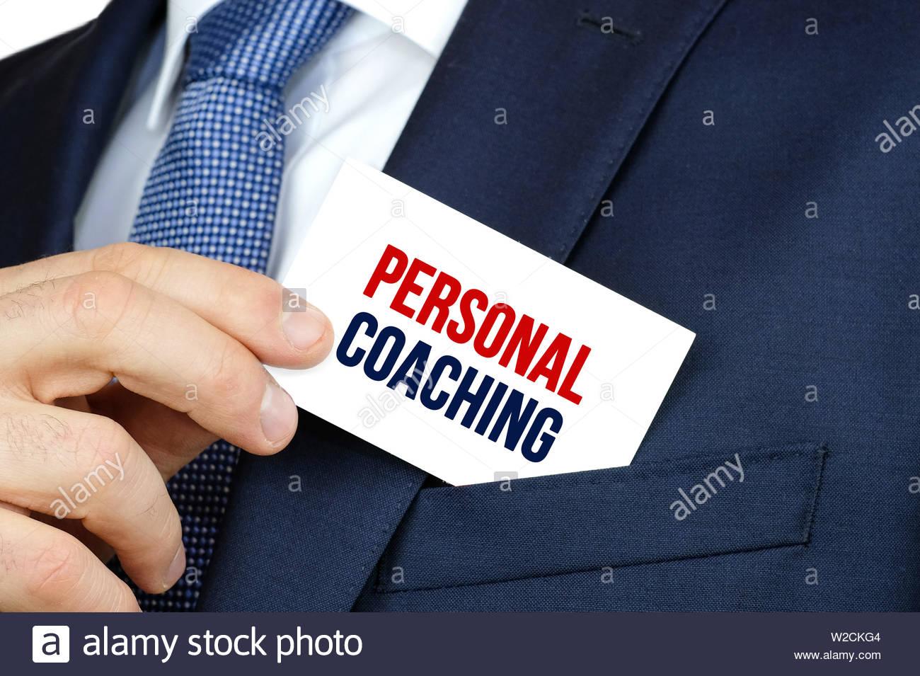 Il Personal Coaching - Business scheda di pubblicità Immagini Stock