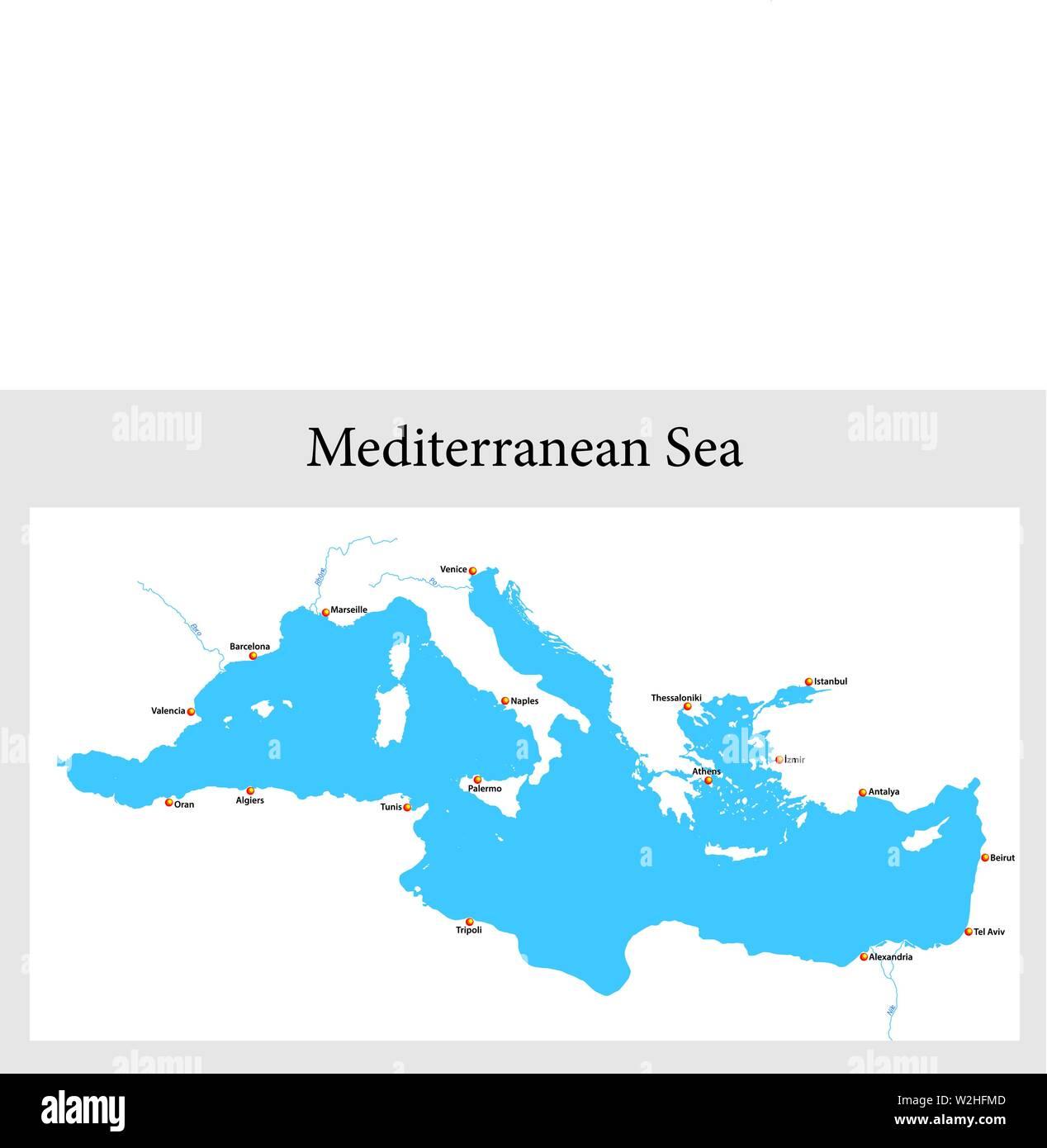 Mare Mediterraneo Cartina.Mappa Del Mediterraneo Immagini E Fotos Stock Alamy