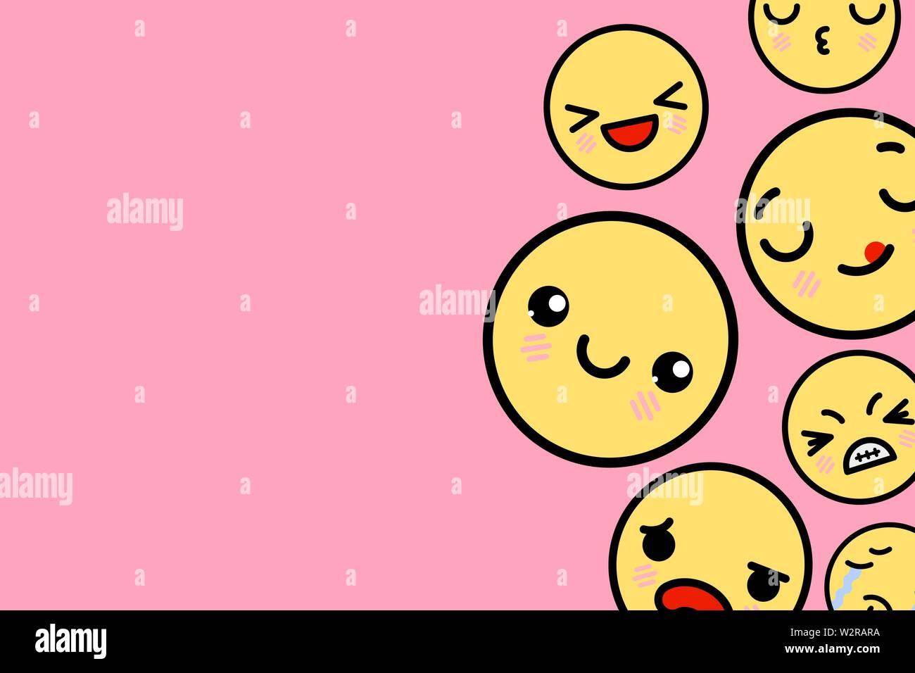 Modello di pagina di intestazione con posto per il testo - divertente sorriso Emoji illustrazione vettoriale Immagini Stock