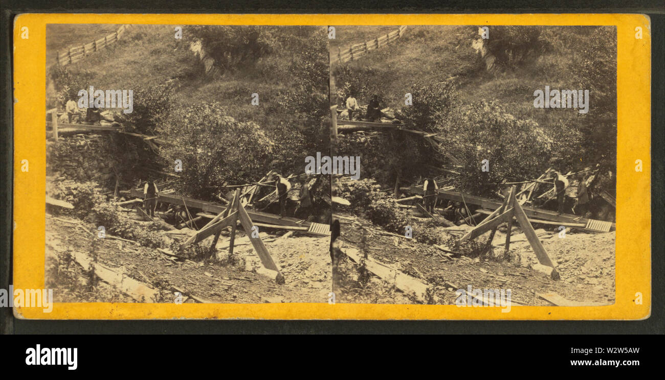 Scavare oro a Smith rivendicazione, Gold Miner's Glen, Plymouth, Vt, dal calibro, F B (Benjamin Franklin), 1824-1874 Immagini Stock