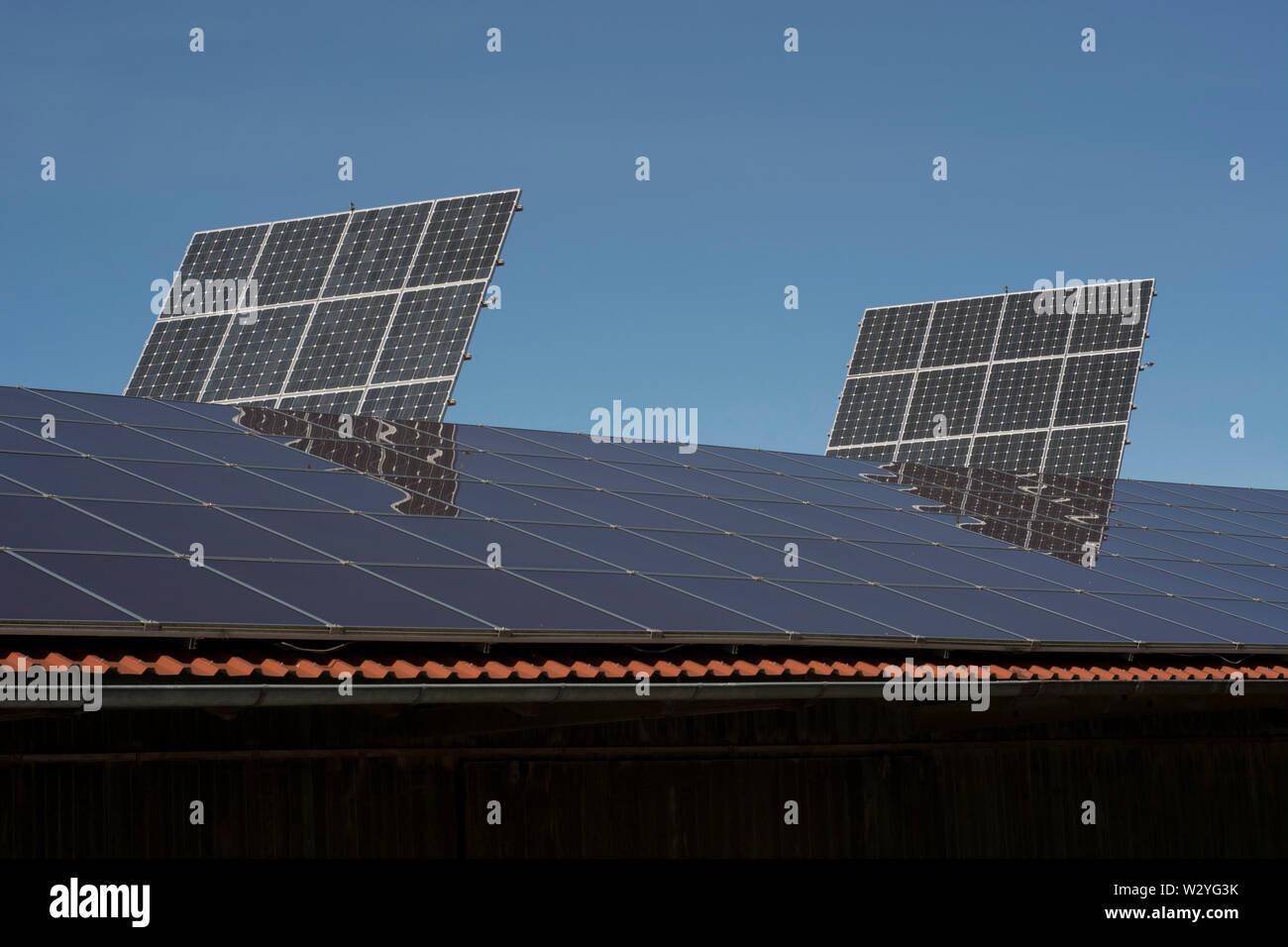 Pannelli solari, schwaebisch hall, michelfeld, Hohenlohe, Heilbronn-Franconia, BADEN-WUERTTEMBERG, Germania Foto Stock