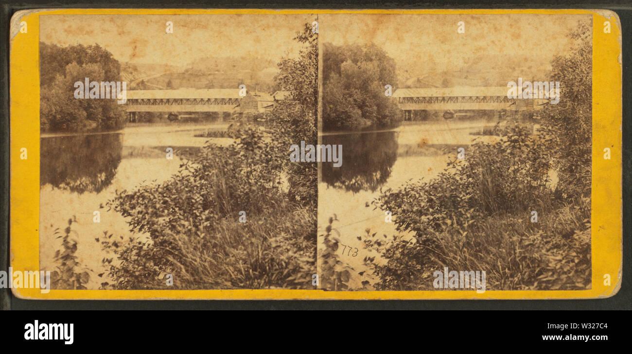 Le ombre del Passumpsic vista attraverso la Passumpsic, al Villaggio Passumpsic, Vt, dal calibro, F B (Benjamin Franklin), 1824-1874 Immagini Stock