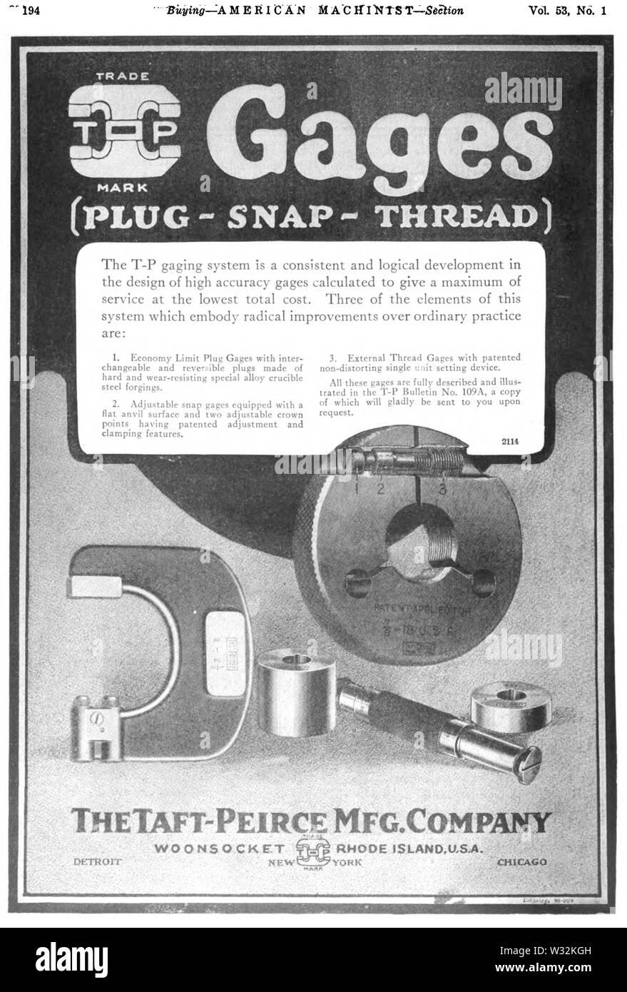 Taft-Peirce gage annuncio in American Machinist 1920 v53 n1 Immagini Stock