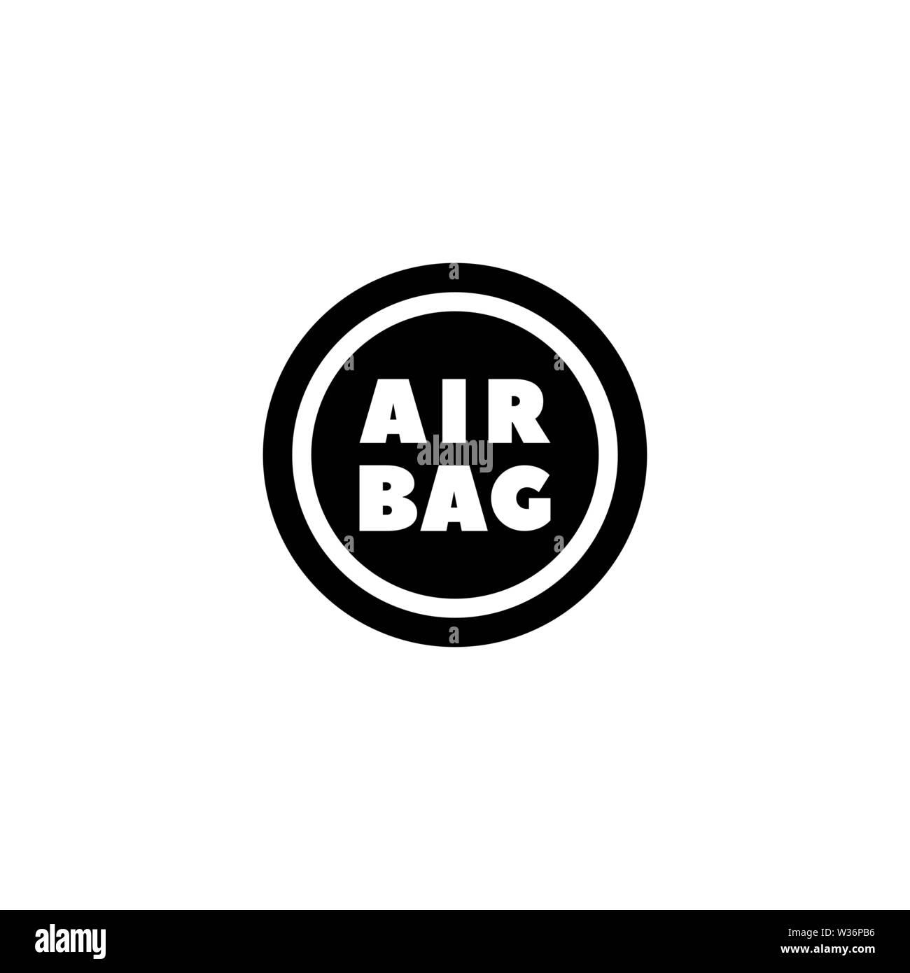 Airbag volante. Piatto icona Vettore. Semplice simbolo nero su sfondo bianco Immagini Stock