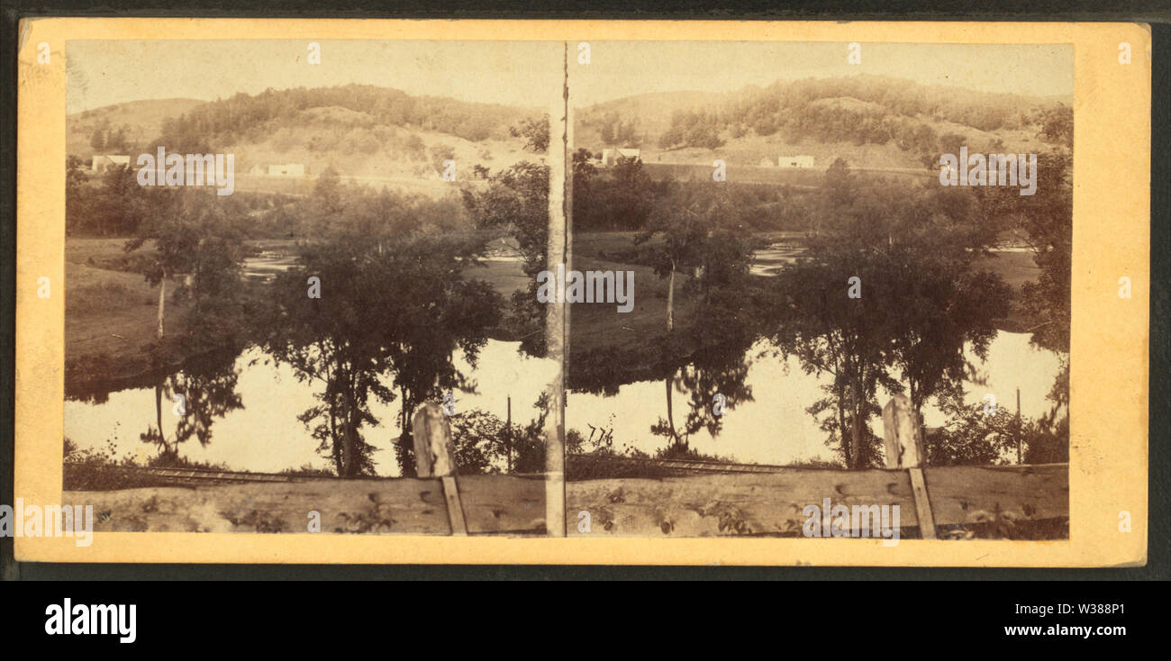 Vista da Ox Bow cliff, Barnet, Vt, dal calibro, F B (Benjamin Franklin), 1824-1874 2 Immagini Stock