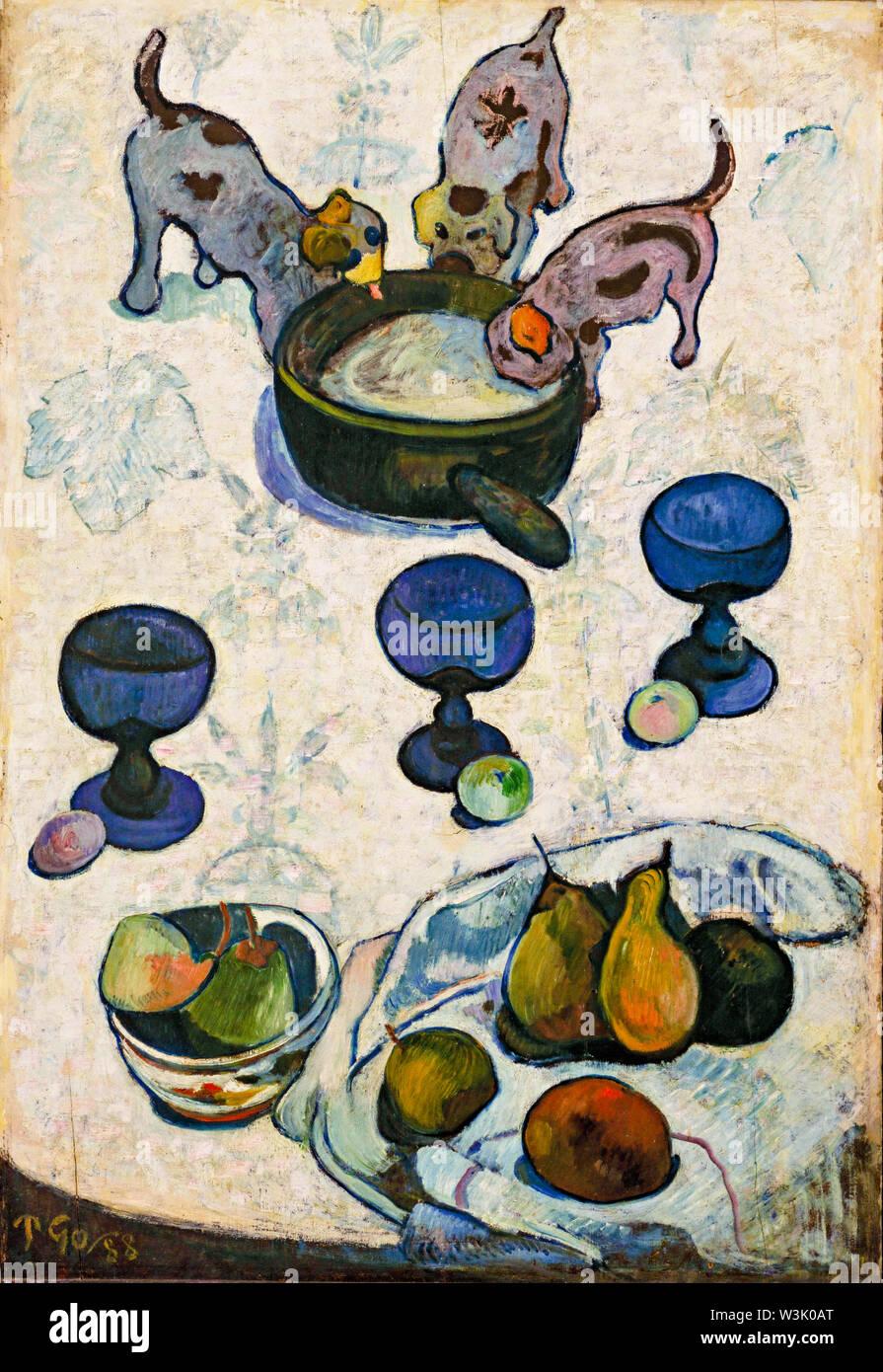 Paul Gauguin, Still Life con tre cuccioli, pittura, 1888 Immagini Stock