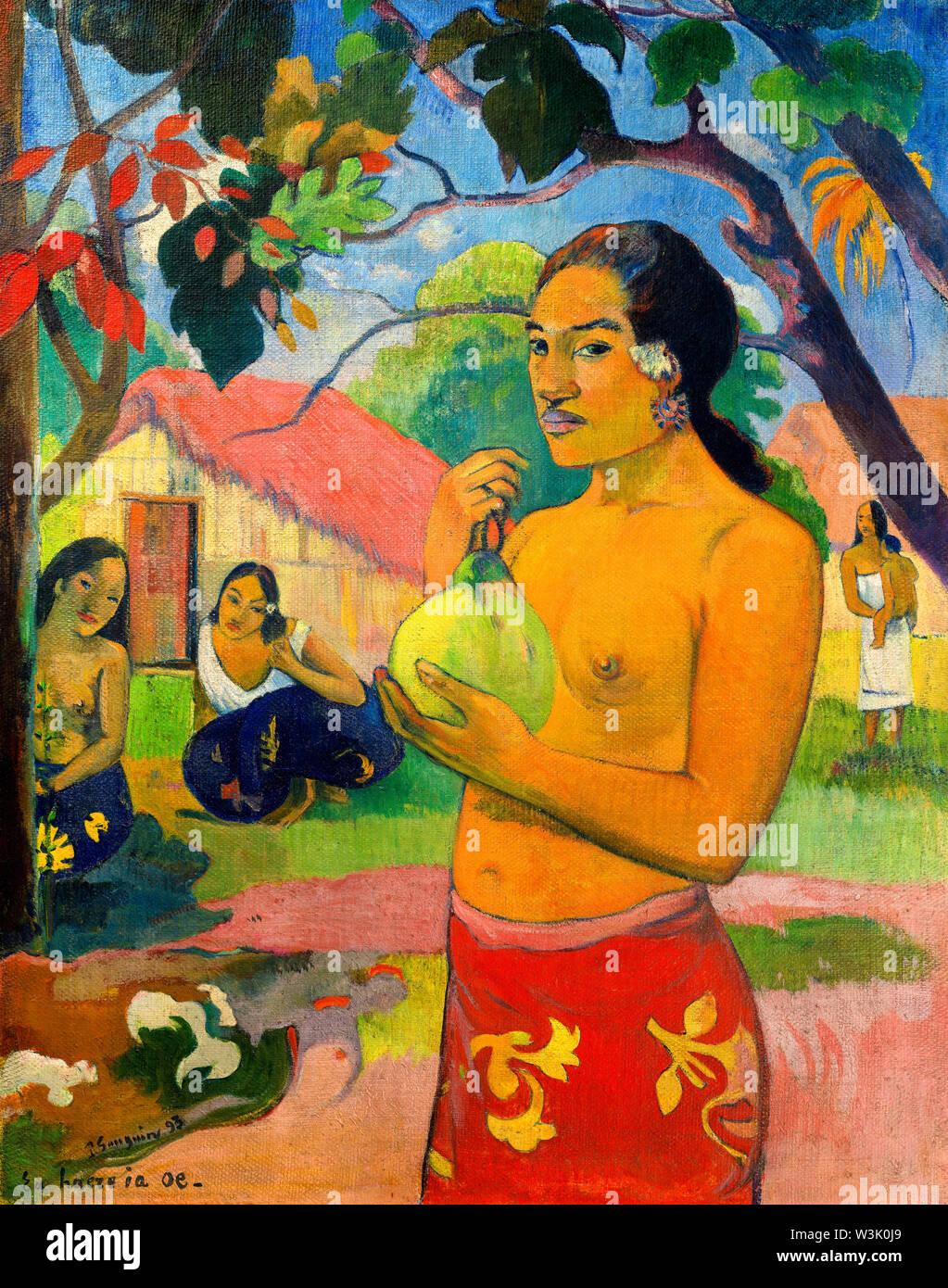 Paul Gauguin, Donna tenendo un frutto, pittura, 1893 Immagini Stock