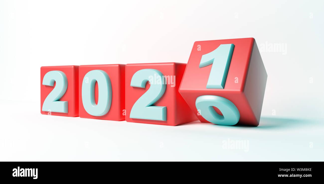 2021 Anno nuovo cambiamento, girare a. 2021 inizio 2020 fine, cubi rossi  isolata contro uno sfondo bianco. 3d illustrazione Foto stock - Alamy