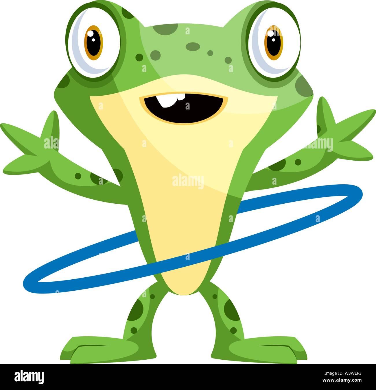 Felice frog ballando con l'hula hoop, illustrazione vettore su sfondo bianco. Immagini Stock