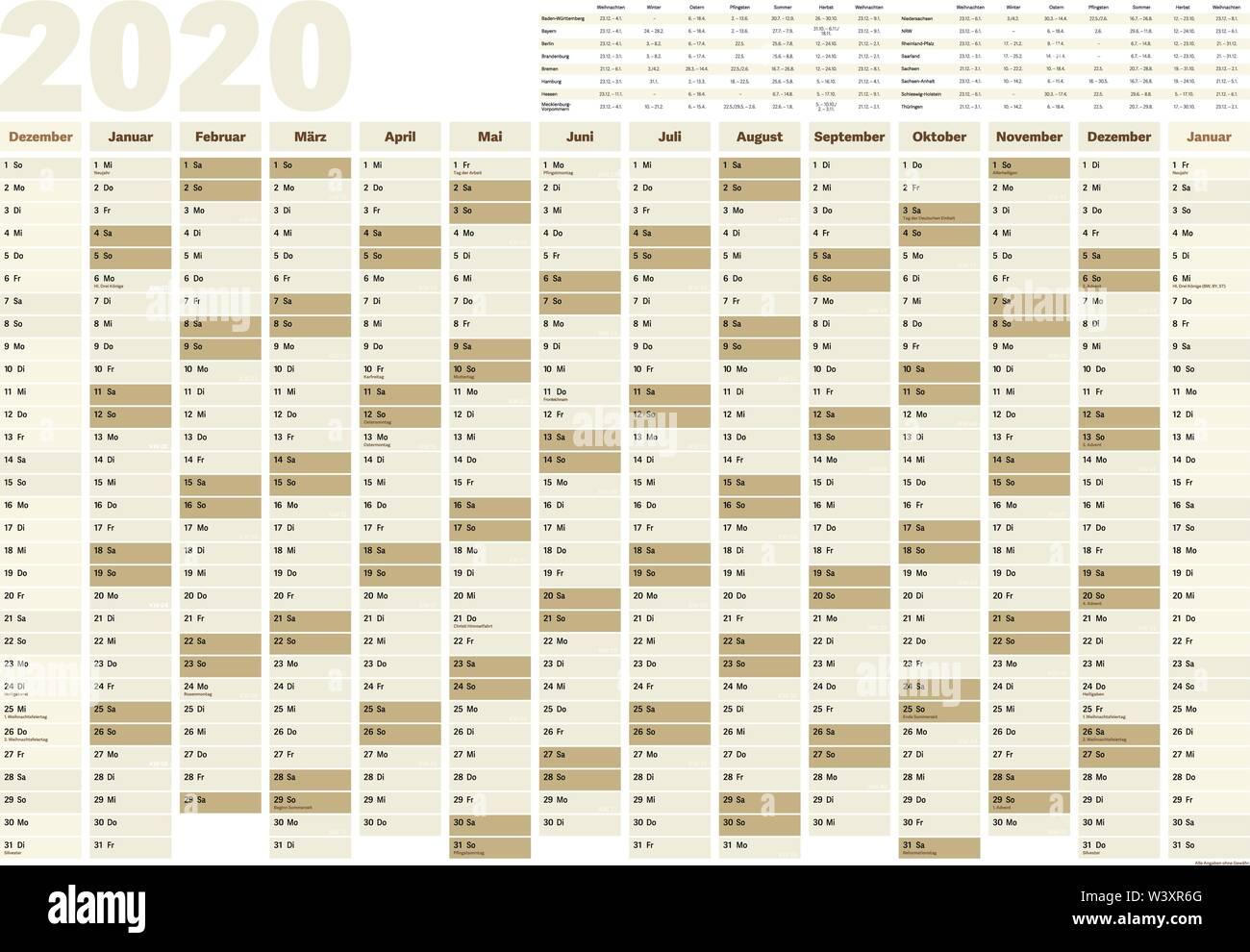 Calendario Parete.Anno Di Parete Planner O Il Calendario Per L Anno 2020 Con