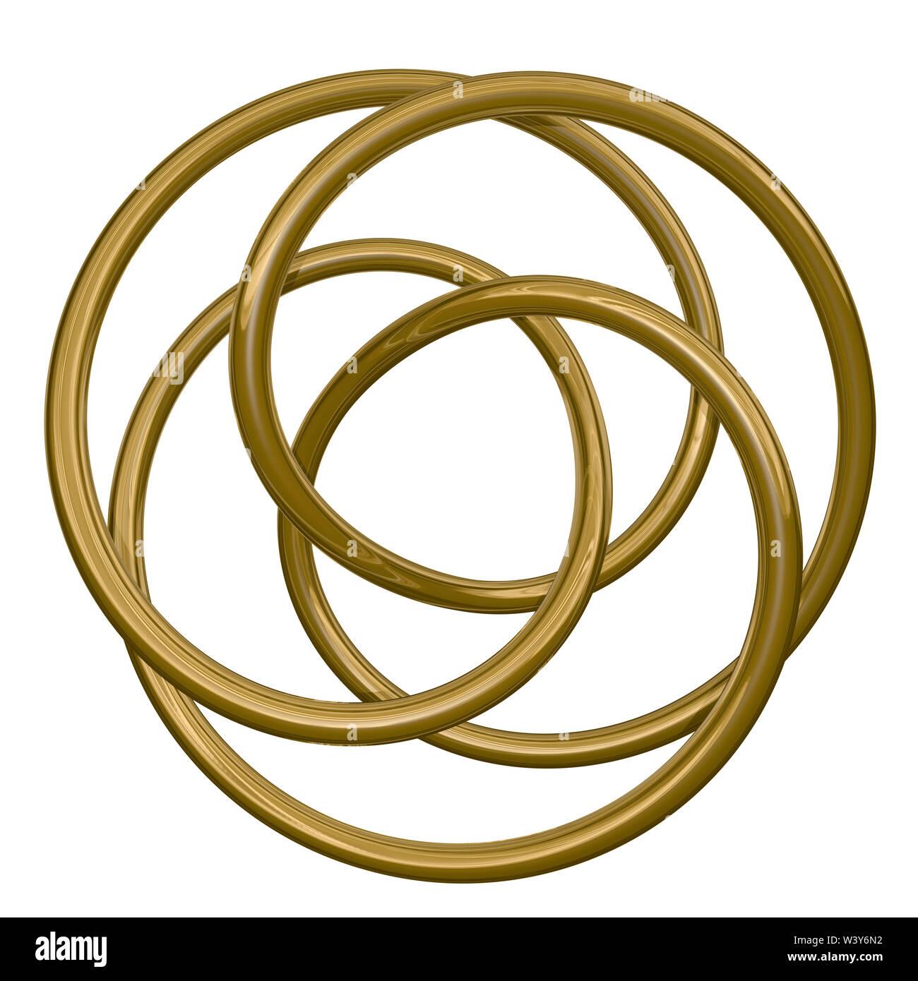 3d illustrazione di incastro golden anelli in metallo su sfondo bianco Immagini Stock