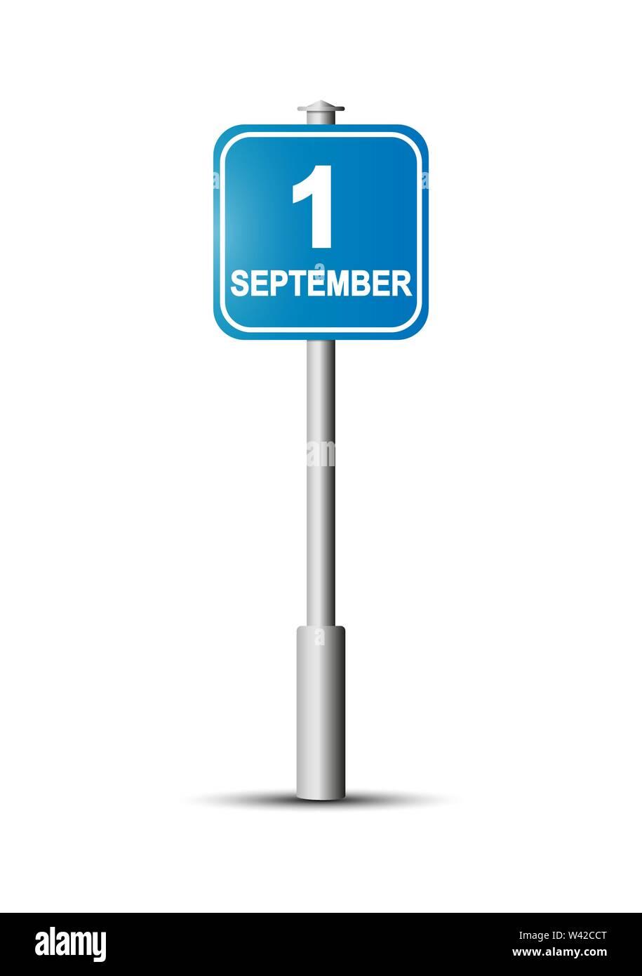 Cartello stradale con la scritta 1 settembre.insegna blu con la scritta 1 Settembre sul palo. Immagini Stock