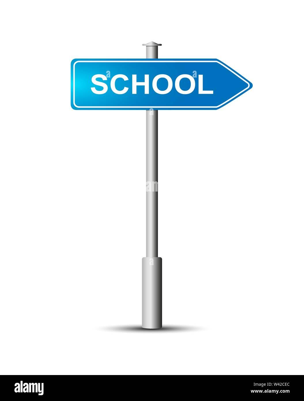 Cartello con la scritta-scuola. Cartello blu che dice scuola il post. Immagini Stock