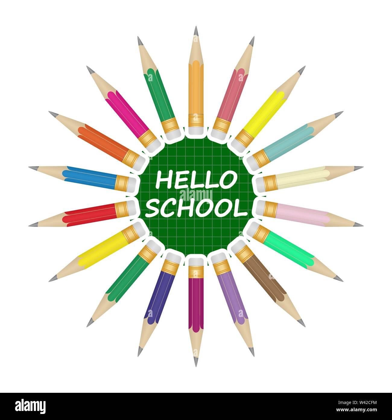 Set di pennarelli colorati disposti in un cerchio. Al centro su uno sfondo verde, iscrizione Ciao a scuola. Immagini Stock