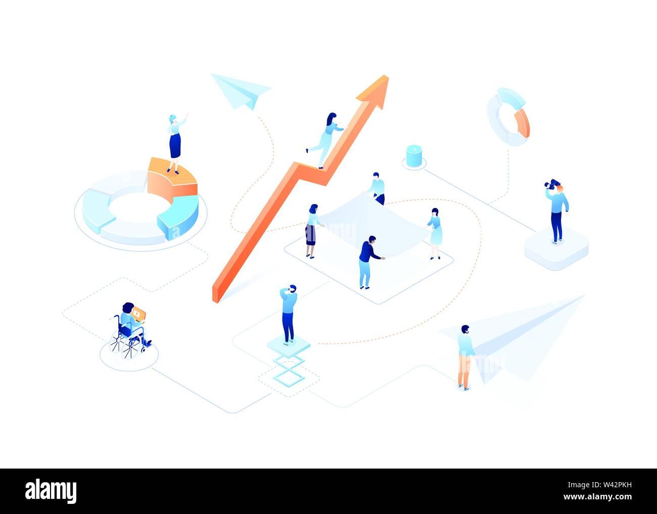 Crescita aziendale - moderno colorato isometrica illustrazione vettoriale Immagini Stock