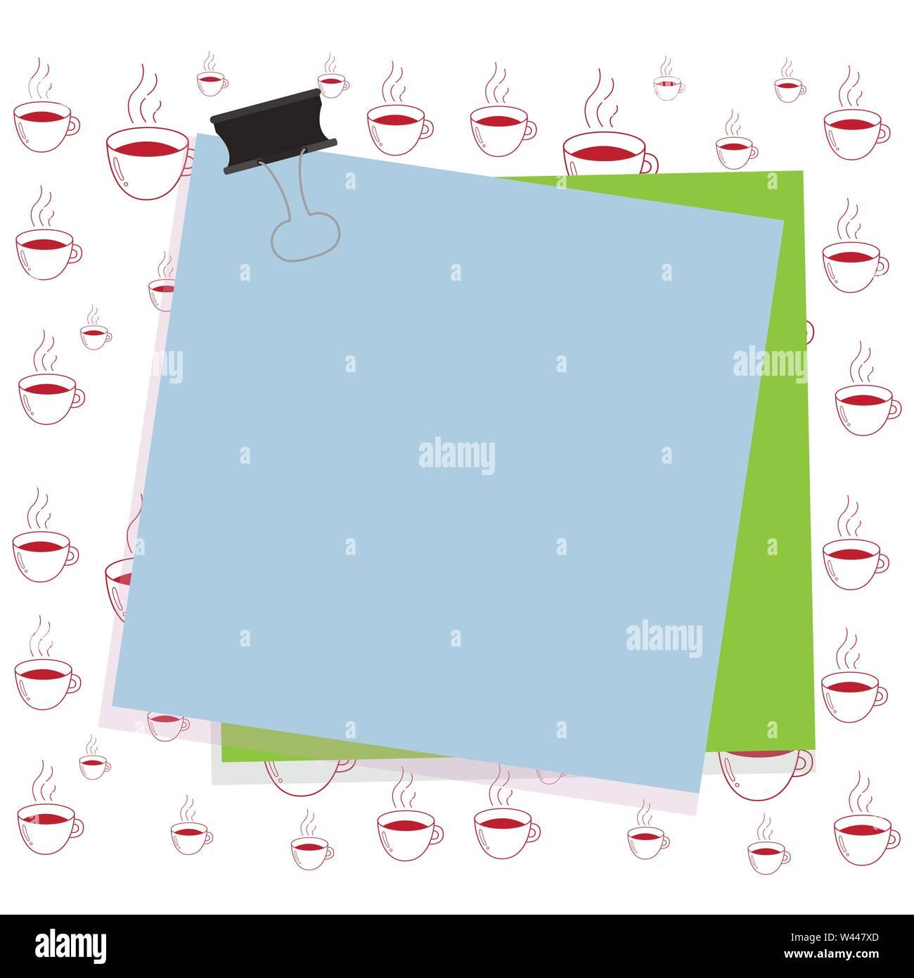 Carta bloccata binder clip sfondo colorato memo promemoria di forniture per ufficio business design concept vuoto consente di copiare il testo per il banner per il Web di materiale promozionale m Immagini Stock