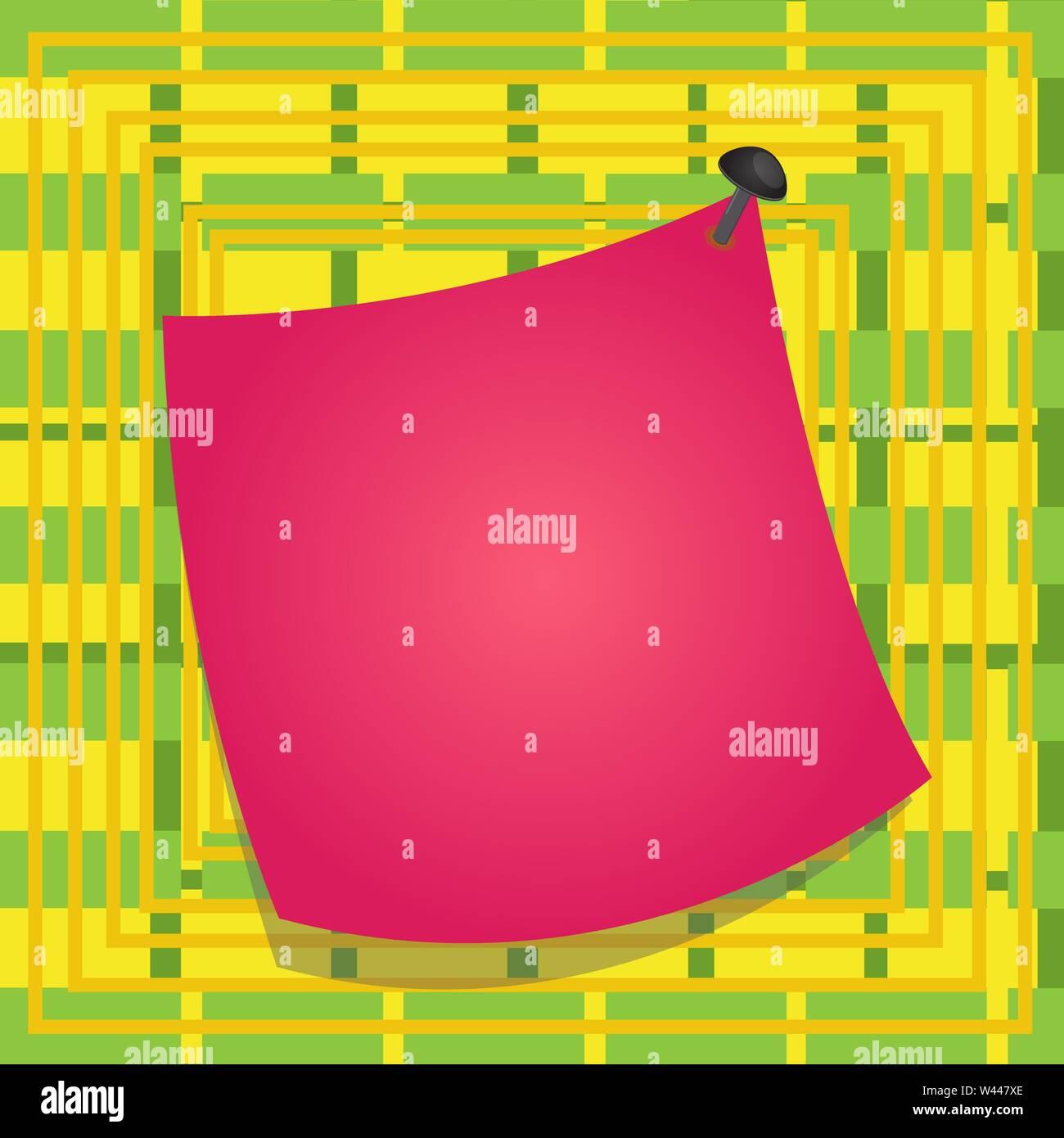 Promemoria curvo memo carta inchiodato superficie colorata bloccato pin vuoto telaio concetto Business vuota copia modello spazio isolato Posters coupon promozione Immagini Stock