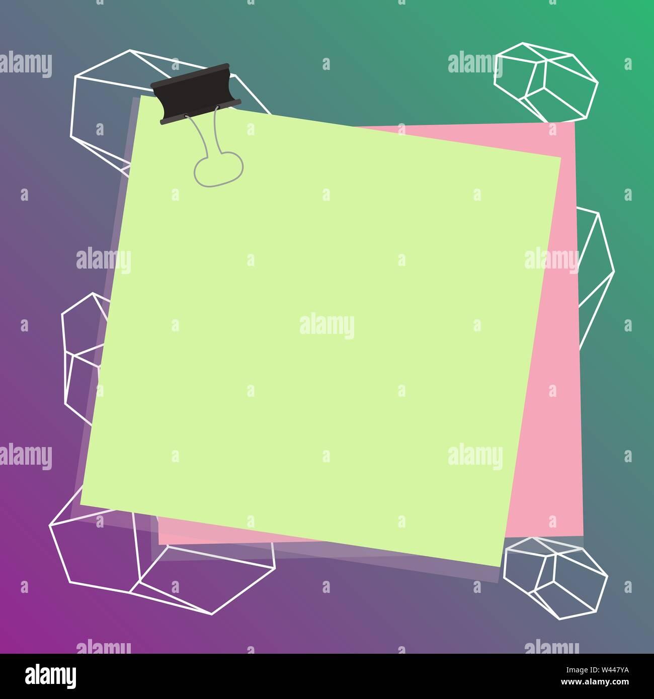 Carta bloccata binder clip sfondo colorato memo promemoria ufficio copia di alimentazione Space design modello vuoto per testo Annuncio, promozione, poster, volantini, web ba Immagini Stock
