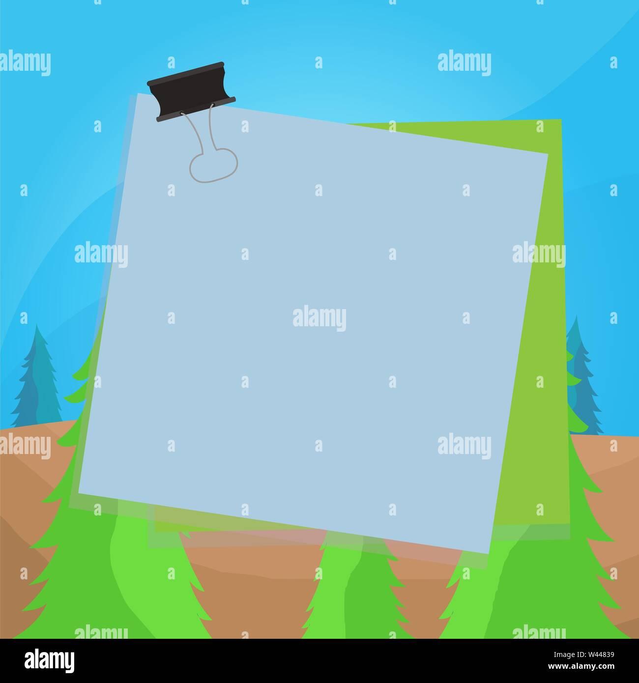 Carta bloccata binder clip sfondo colorato memo promemoria di forniture per ufficio business design concept modello vuoto spazio copia testo per sito di annunci isolato Immagini Stock