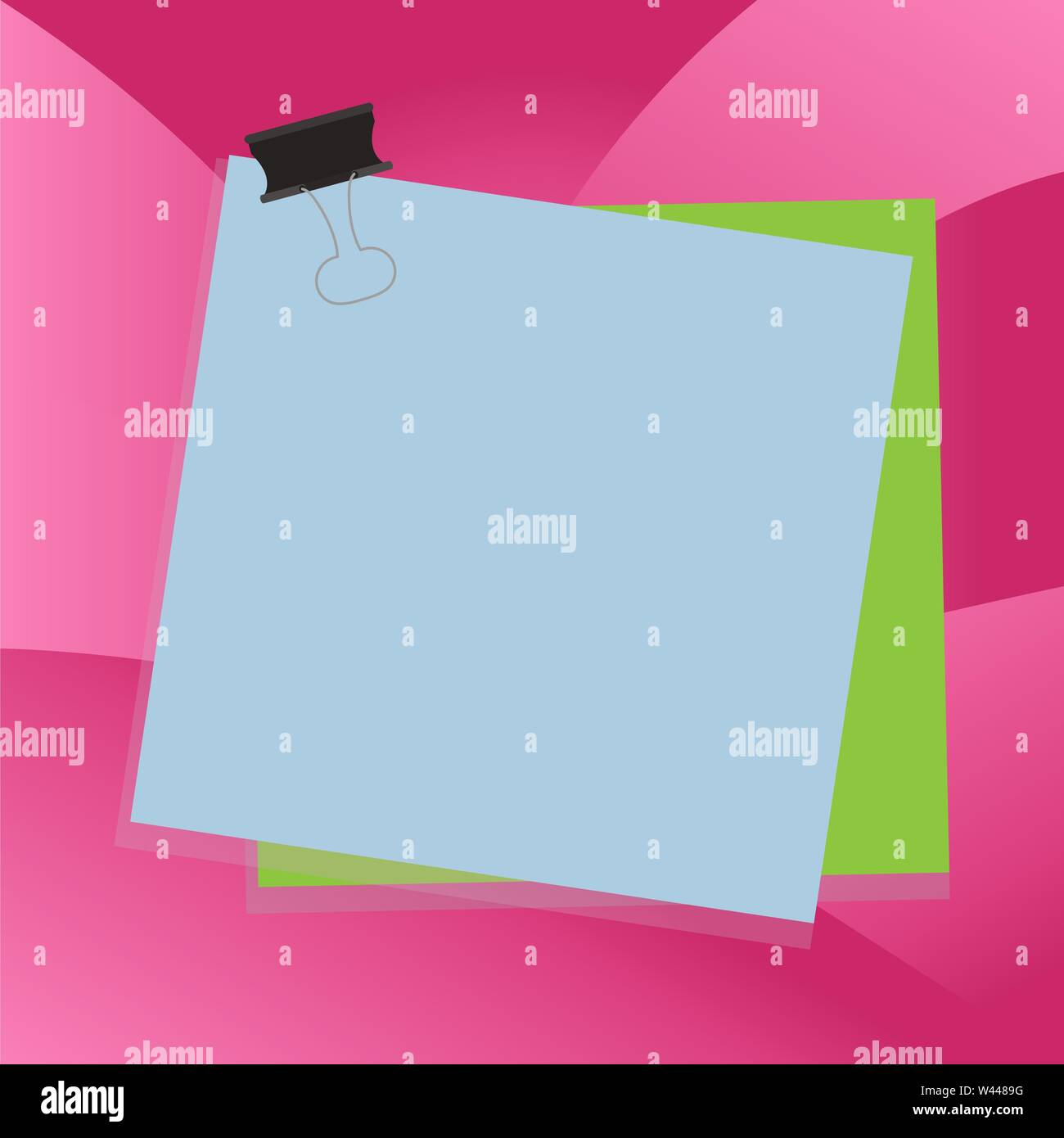 Carta bloccata binder clip sfondo colorato memo promemoria di forniture per ufficio business Design modello vuoto isolato grafica minimalista modello di impaginazione per Immagini Stock
