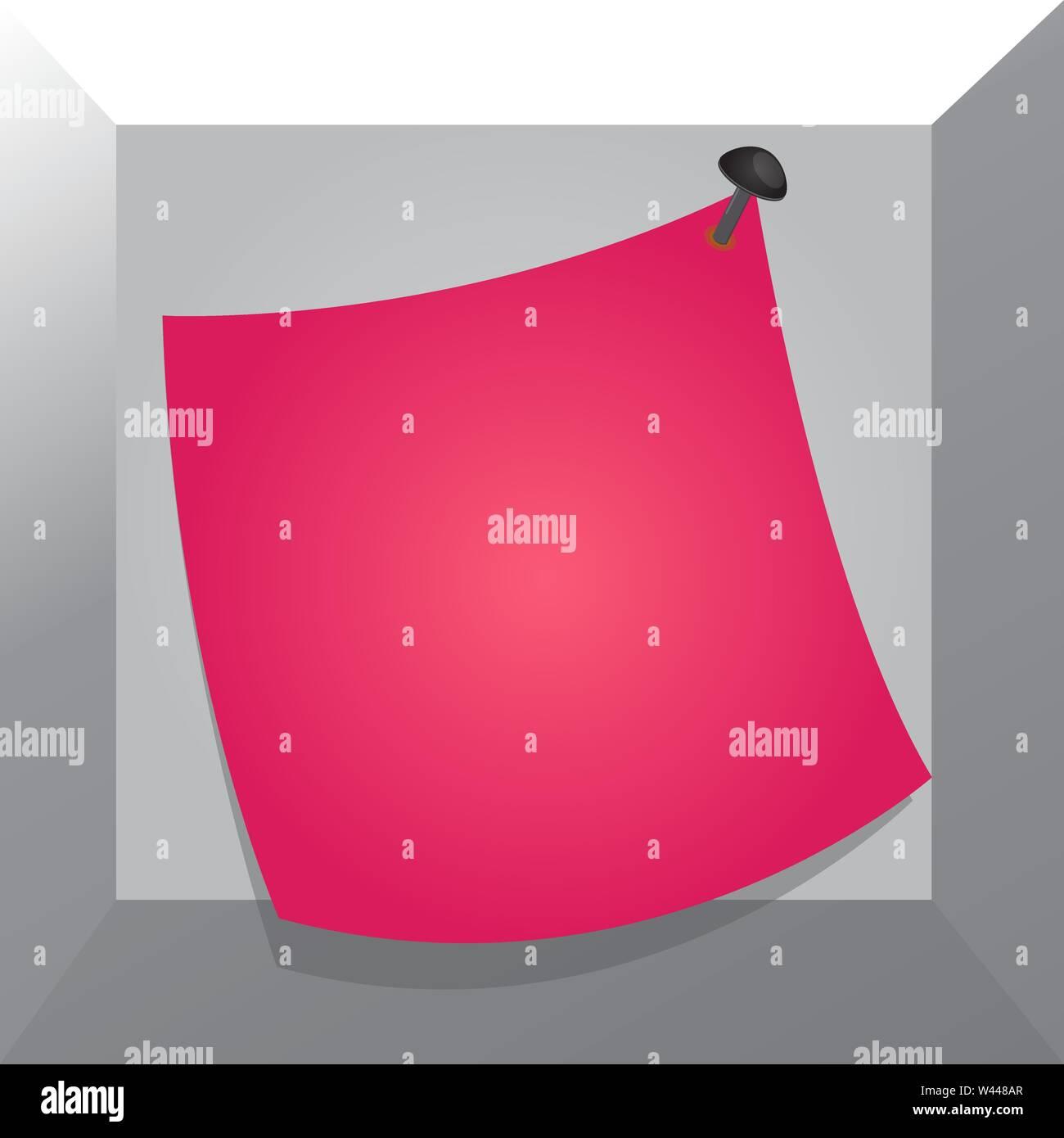 Promemoria curvo memo carta inchiodato superficie colorata bloccato pin vuoto Business telaio modello vuoto per la disposizione di invito biglietto di auguri promozione pos Immagini Stock