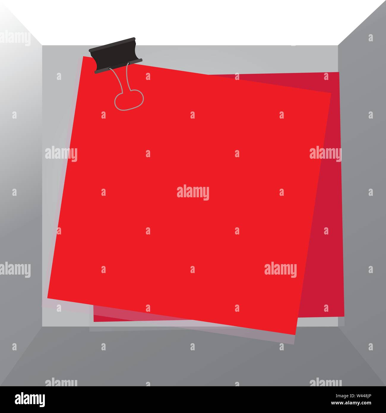 Carta bloccata binder clip sfondo colorato memo promemoria ufficio business di alimentazione modello vuoto per la disposizione di invito biglietto di auguri promozione post Immagini Stock