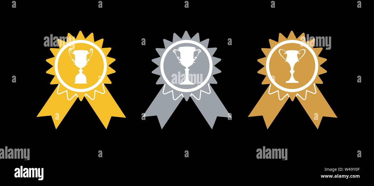 Consegna del premio. L'oro, l'argento e la medaglia di bronzo con tazze, semplice piatto design. Immagini Stock