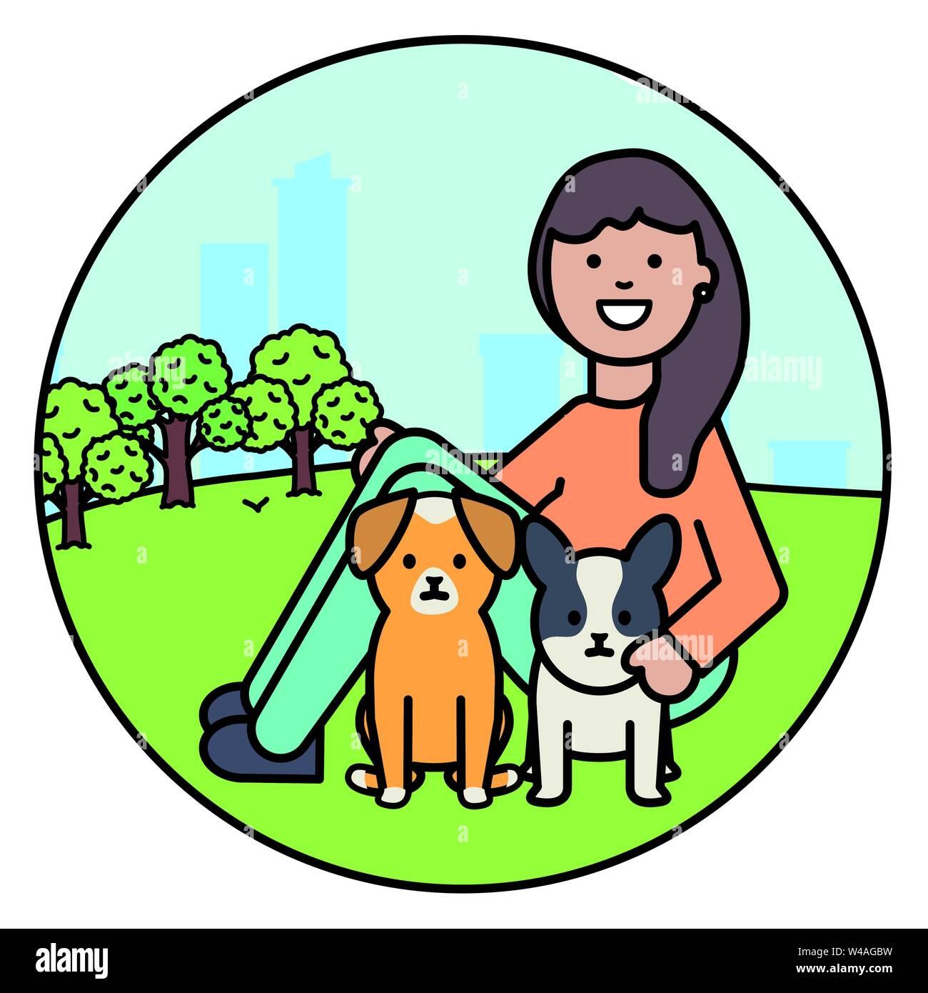 Giovane donna con piccoli cani nel parco illustrazione vettoriale design Immagini Stock