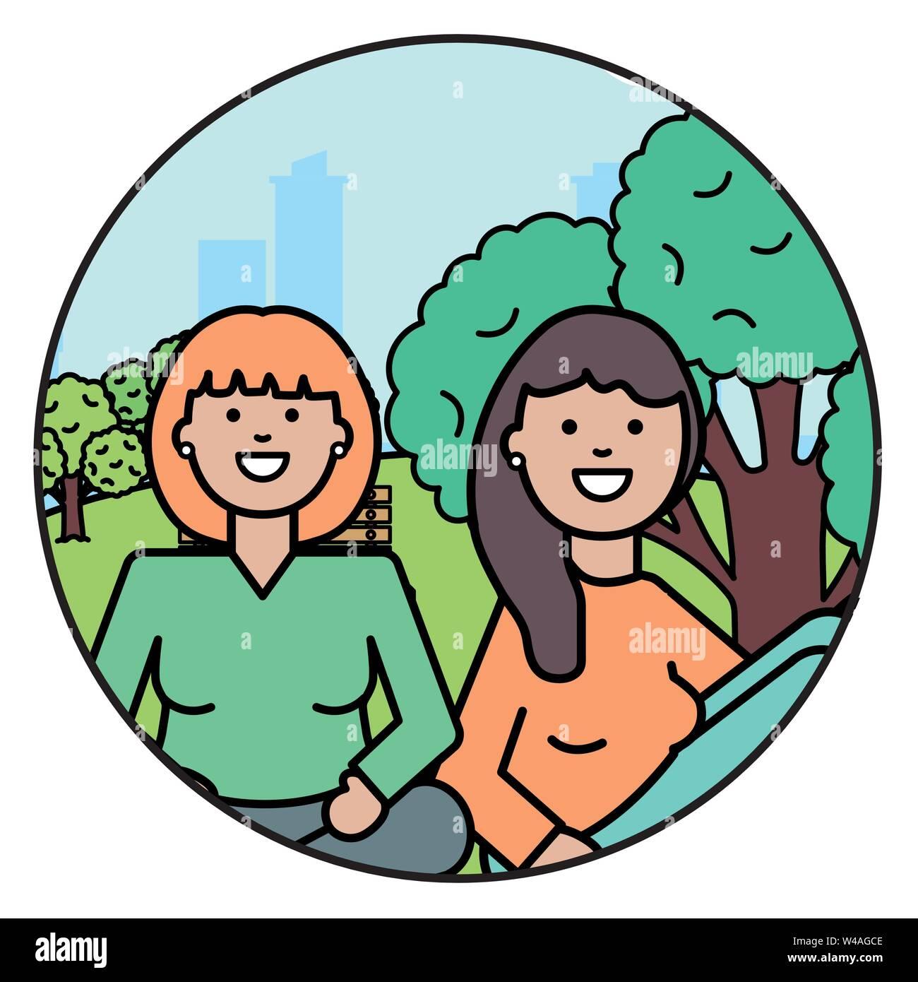 Felice di giovani donne nel parco illustrazione vettoriale design Immagini Stock