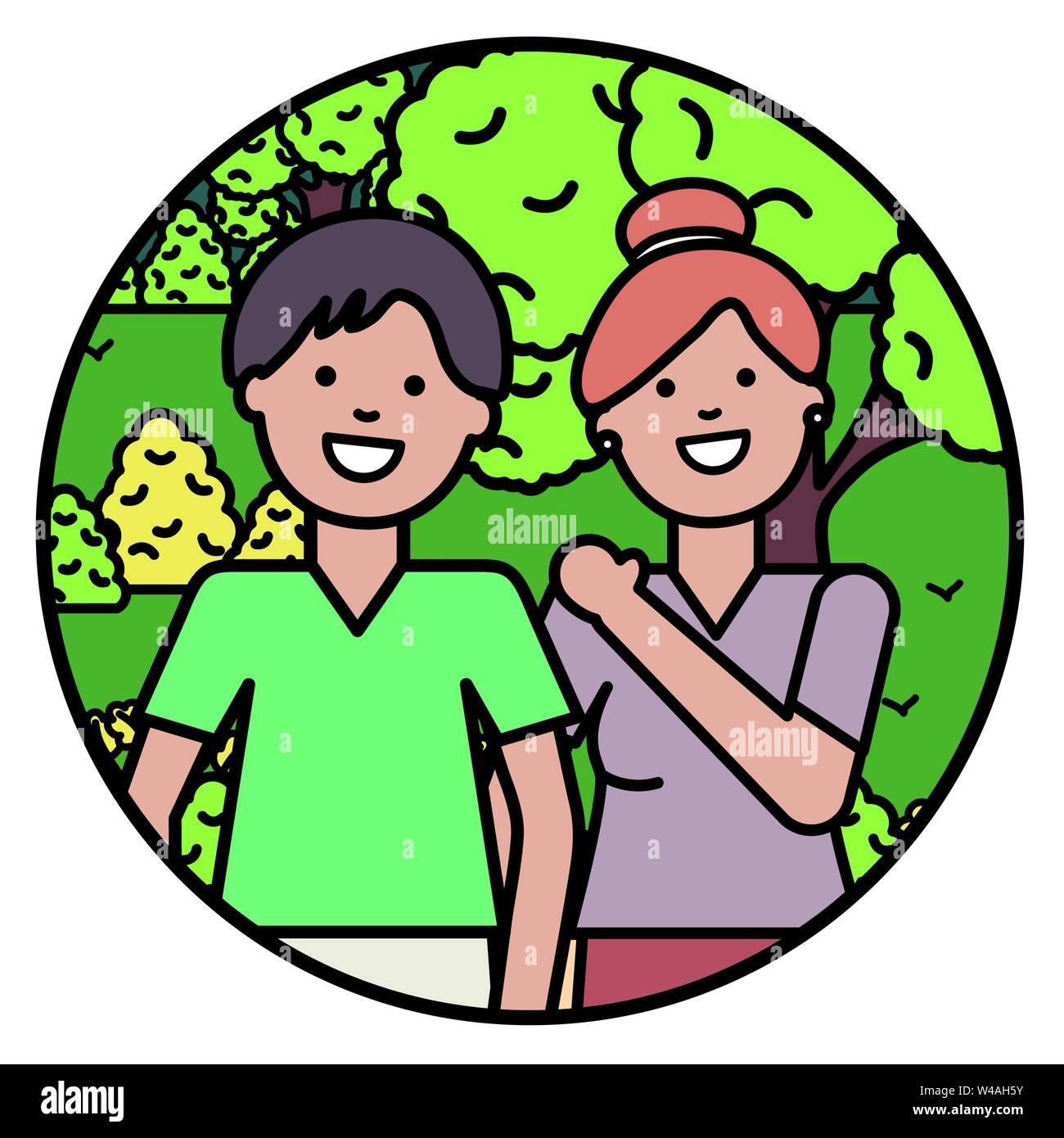 Gli amanti della giovane coppia nel parco illustrazione vettoriale design Immagini Stock