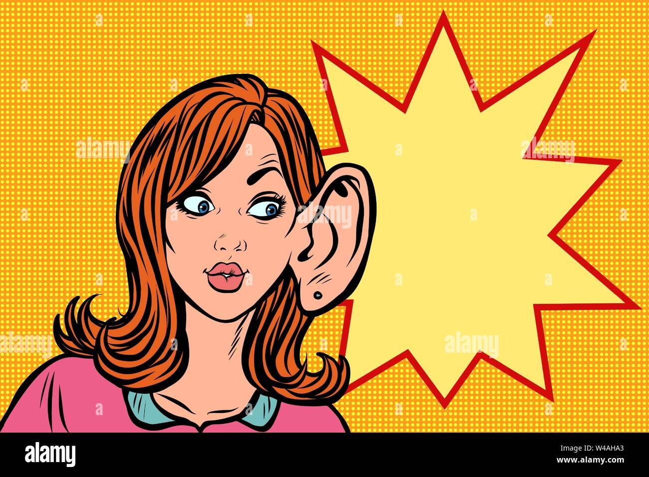 Donna intercettazioni, pettegolezzi segreti e voci Immagini Stock