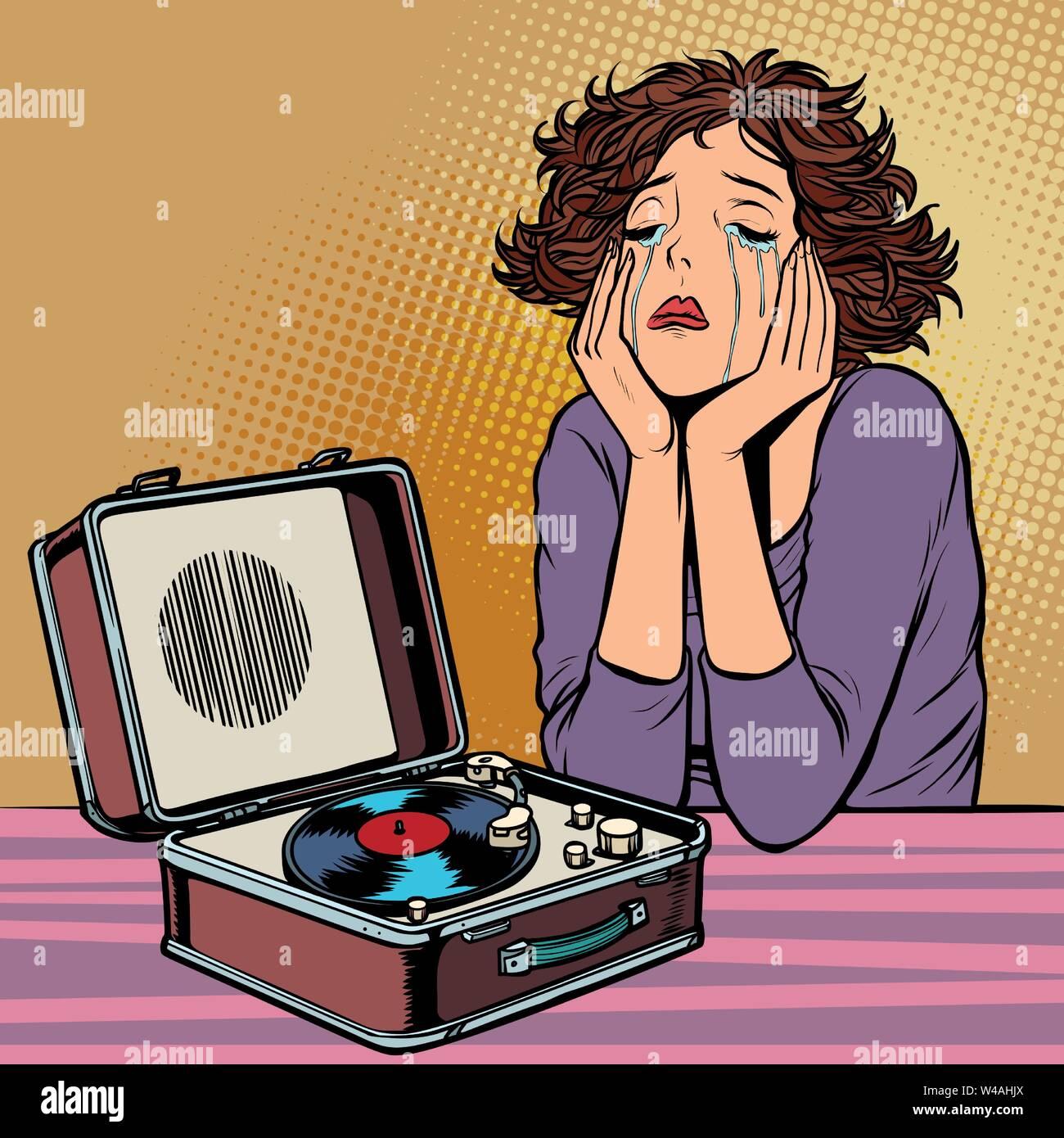 Donna ascoltando musica triste, retro vinil record giocatore Immagini Stock