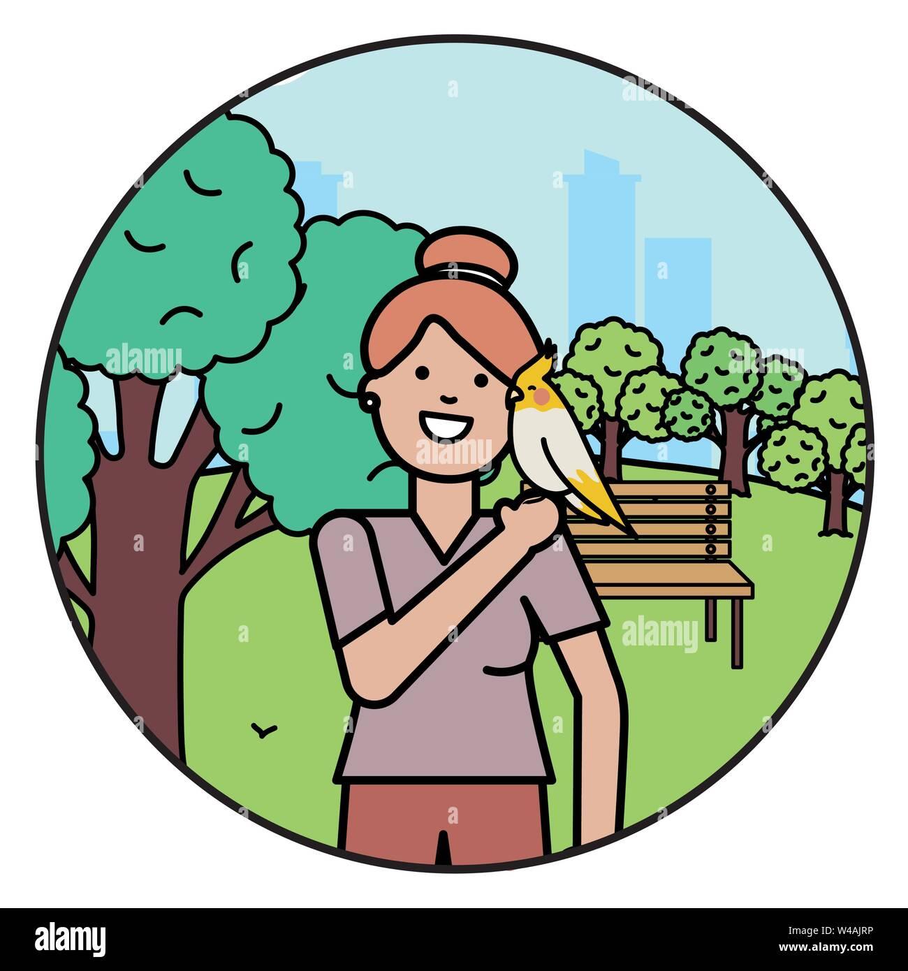 Giovane donna con un piccolo uccello sul parco illustrazione vettoriale design Immagini Stock