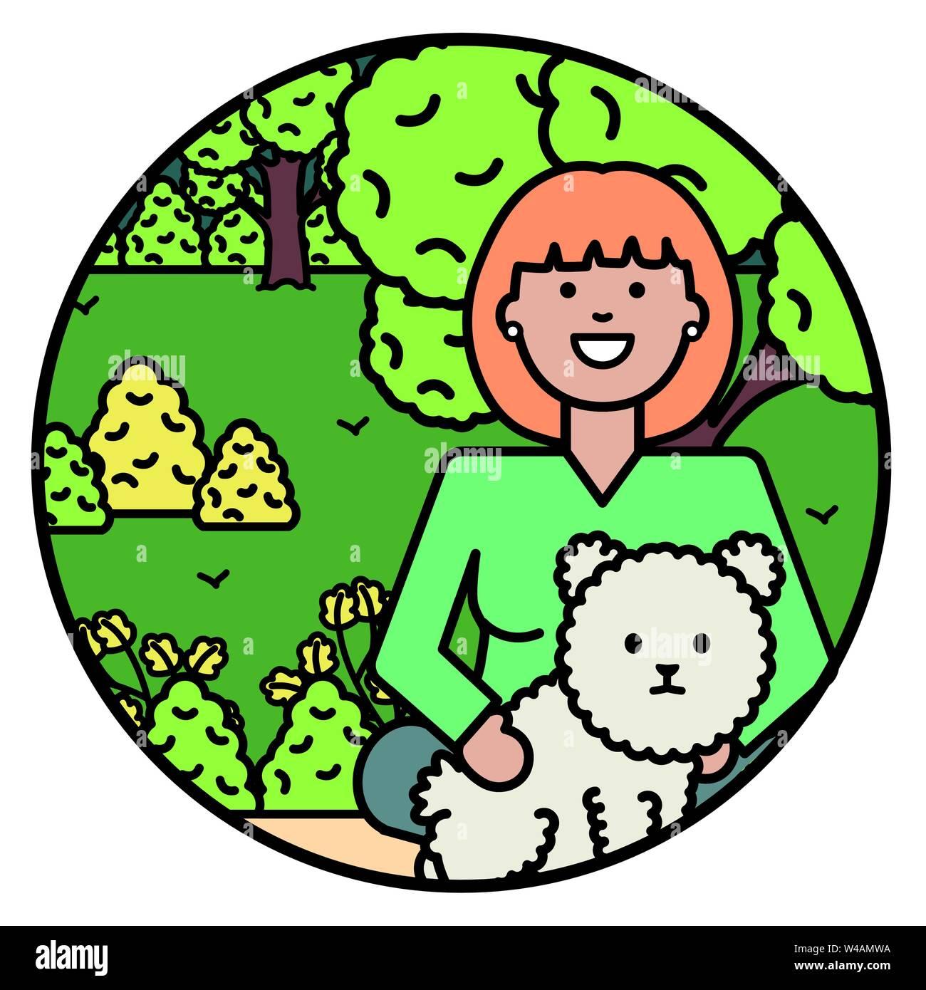 Giovane donna con piccolo cane nel parco illustrazione vettoriale design Immagini Stock