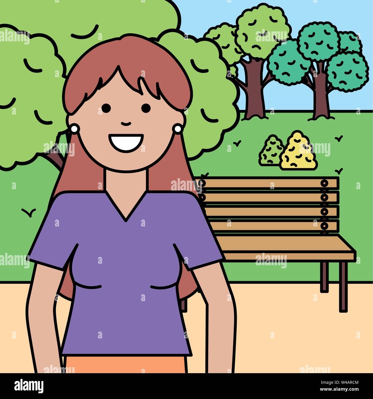 Felice giovane donna nel parco illustrazione vettoriale design Immagini Stock