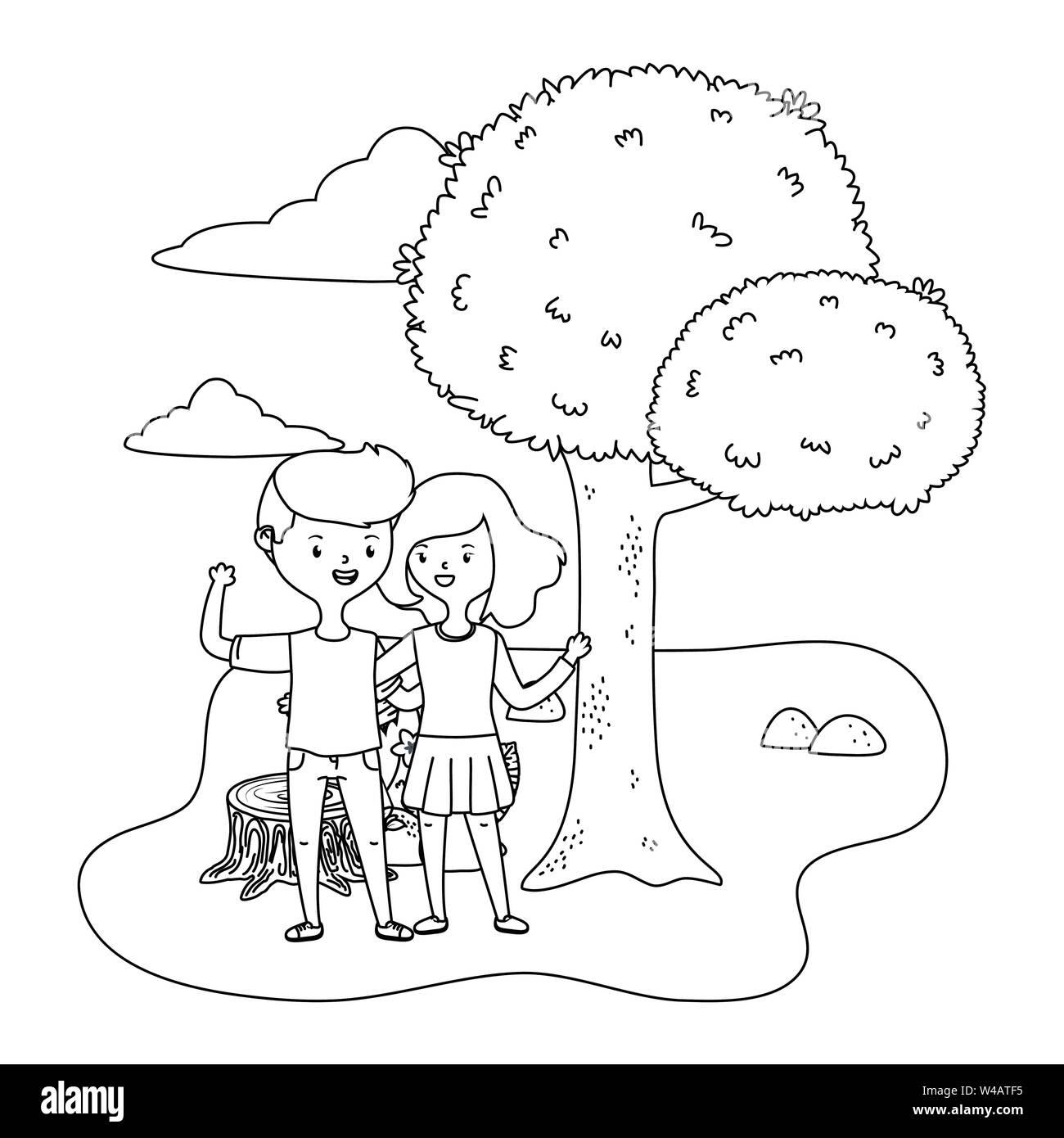 Adolescente ragazzo e ragazza design, persona ritratto della gioventù giovani studenti e teen tema illustrazione vettoriale Immagini Stock