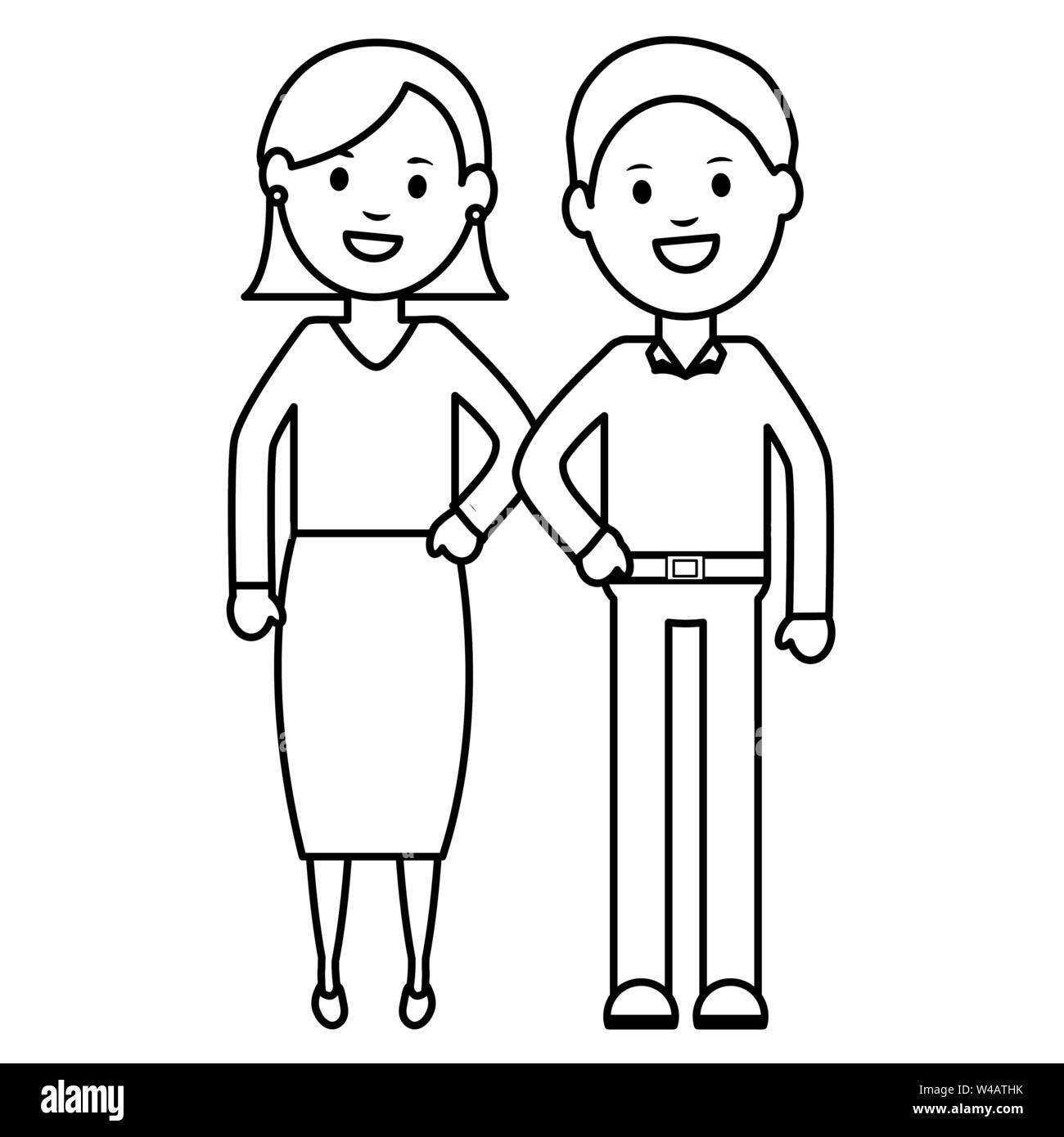 Coppia giovane avatar caratteri illustrazione vettoriale design Immagini Stock