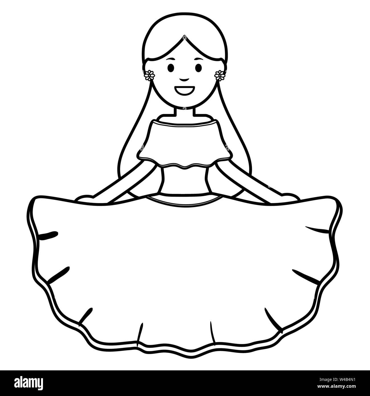 Bella donna messicana carattere illustrazione vettoriale design Immagini Stock