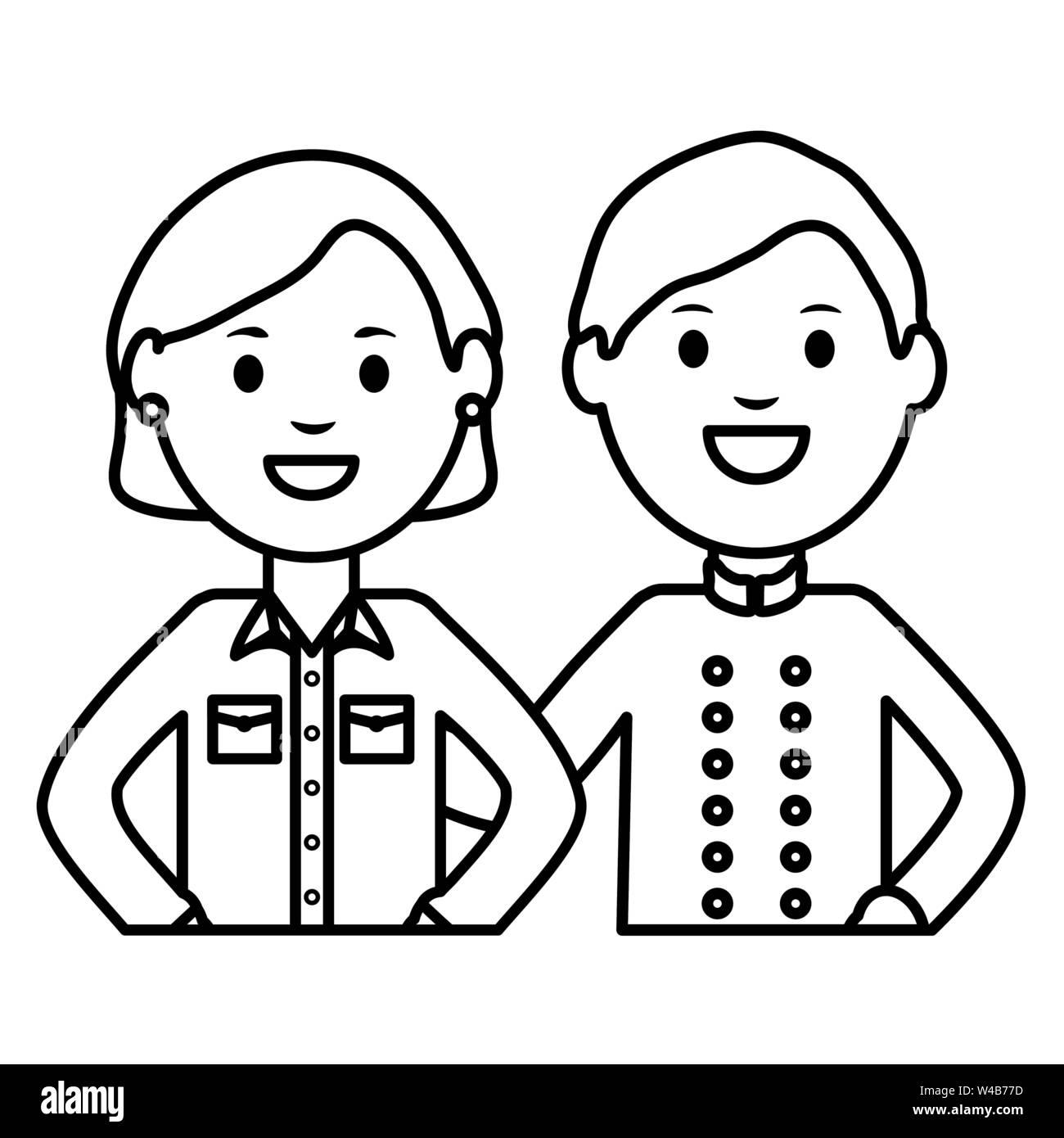 Giovane donna e cameriere illustrazione vettoriale design Immagini Stock