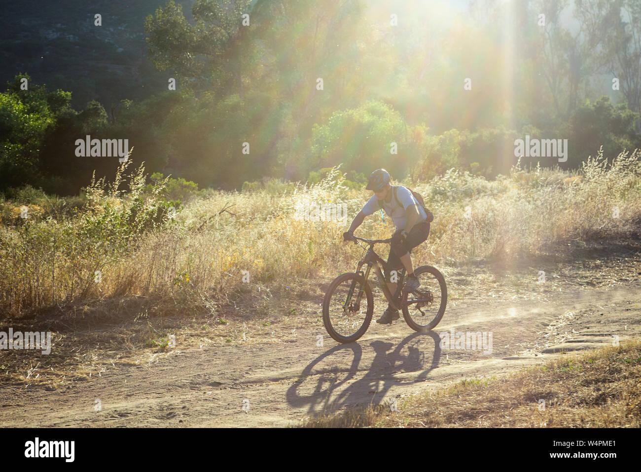 Uomo maturo equitazione mountain bike contro la luminosa luce del sole sul sentiero in ca Foto Stock