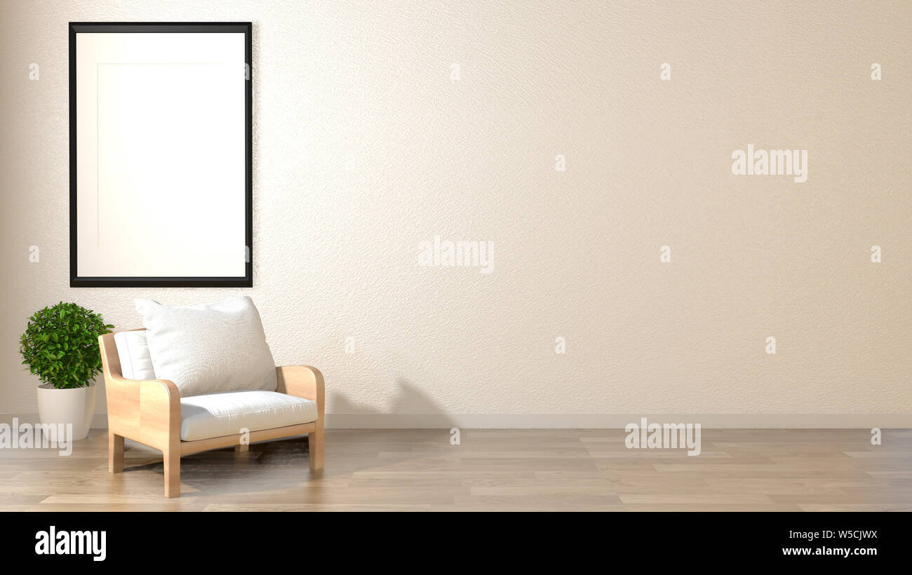 Zen soggiorno parete bianca e vuota sfondo con decorazione ...