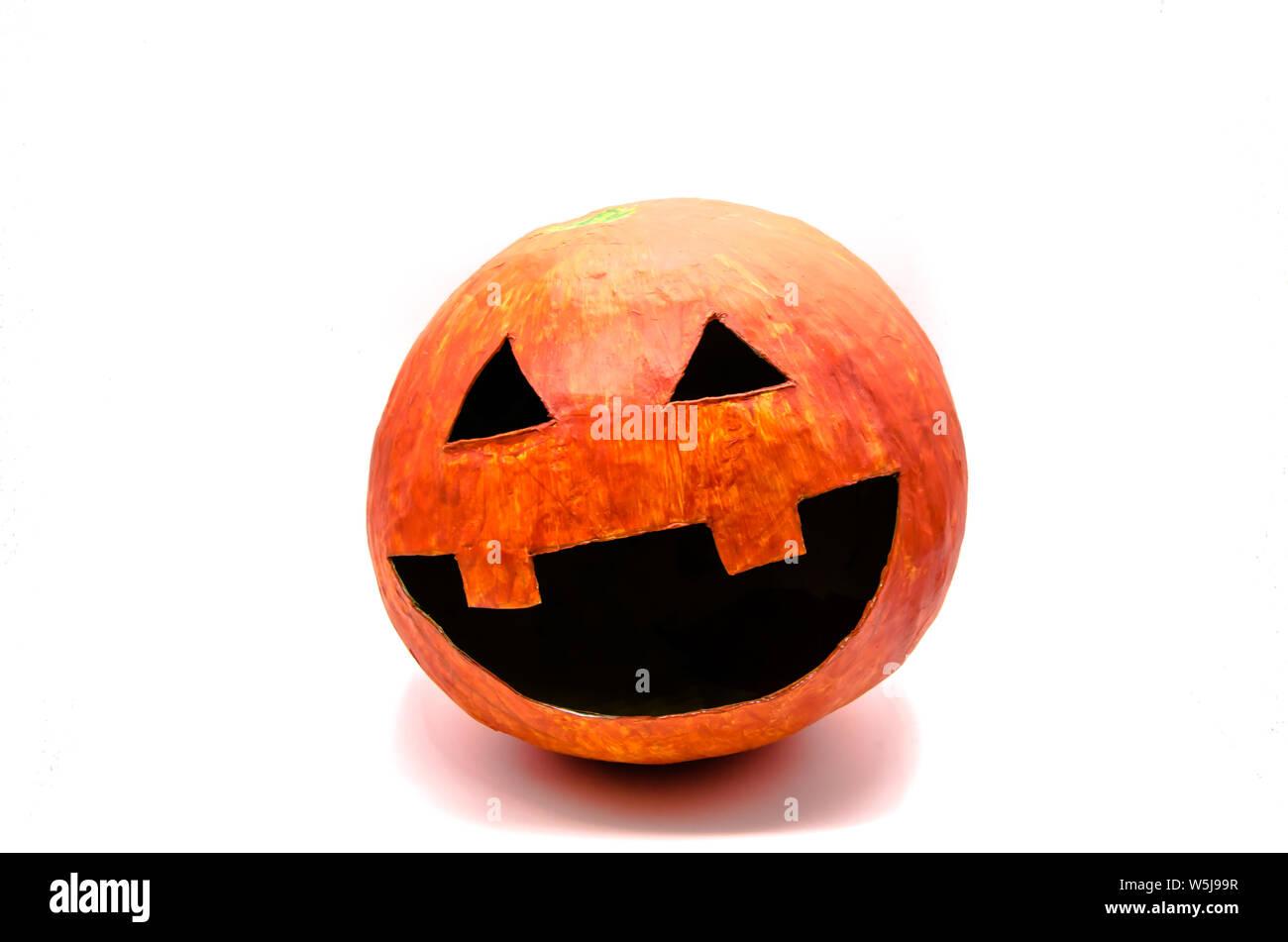 Zucca Halloween Cartapesta.La Zucca Arancione Con La Bocca Aperta E Gli Occhi Di Forma