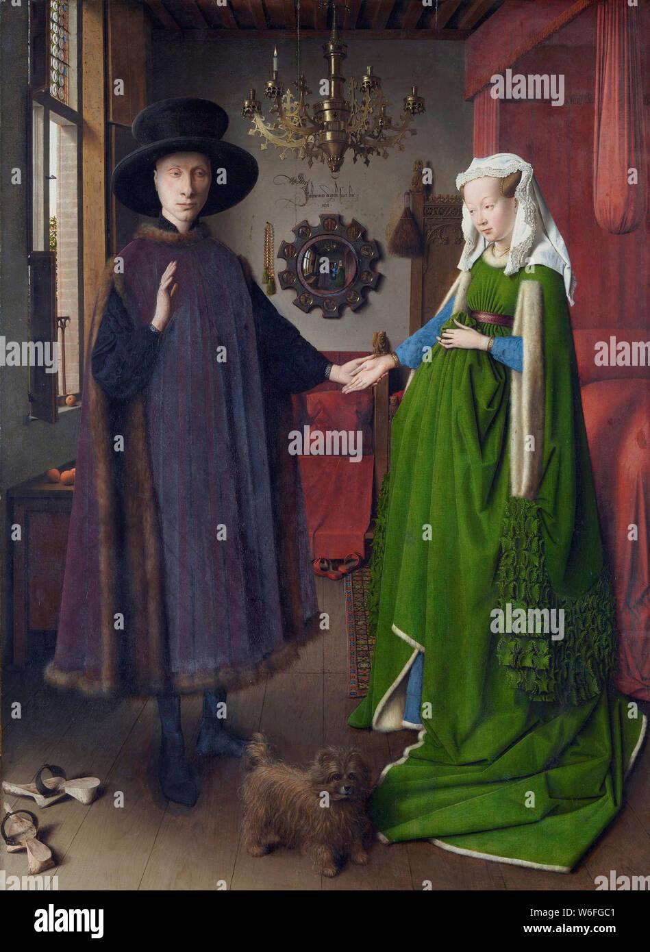 Il Ritratto di Arnolfini, 1434. Artista: Eyck, Jan van (1390-1441) Foto Stock