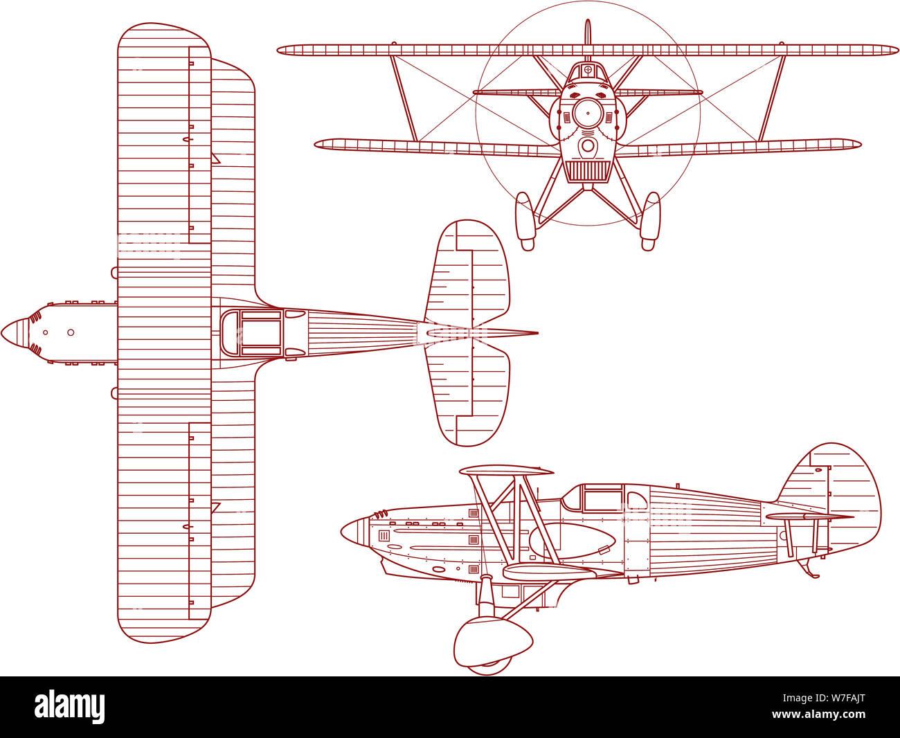 Schema blueprint di ingegneria di un Avia B-534 biplano come visto dal lato della parte superiore e la parte anteriore. Questo bi-aereo è stato prodotto e realizzato da Avia in CZ Foto Stock