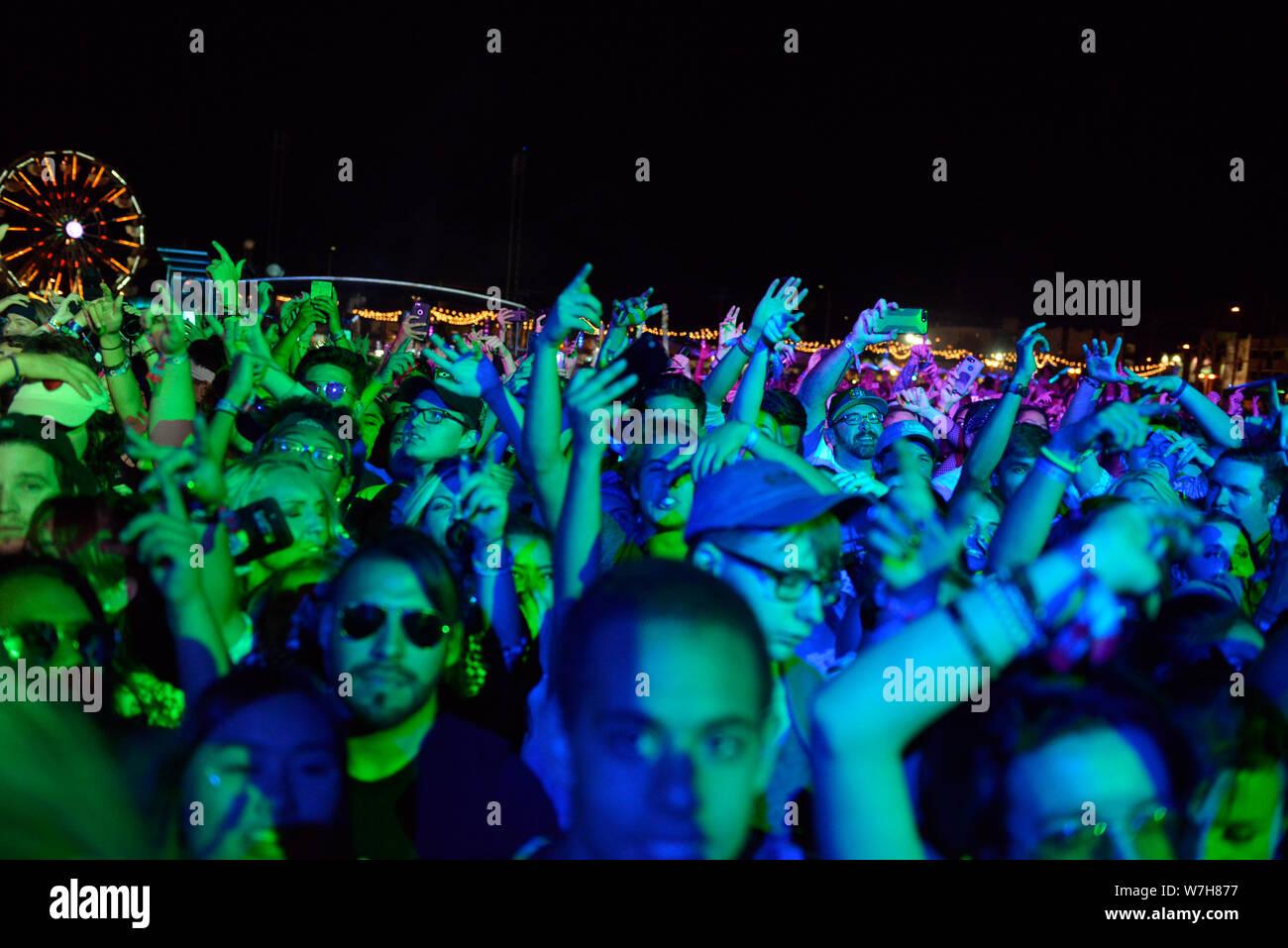 Folla di concerto Foto Stock
