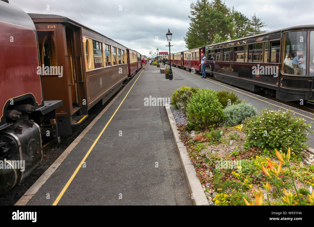 WHR. Welsh highland railway motore a vapore Foto Stock