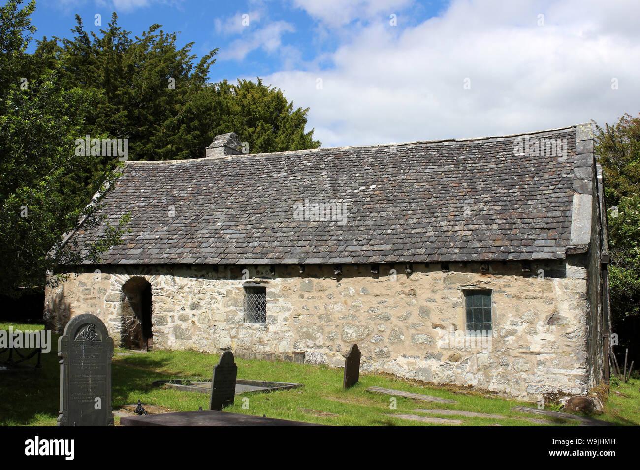 St Rhychwyn la Chiesa, Llanrhychwyn, nr Trefriw, Conwy Valley, Galles Foto Stock