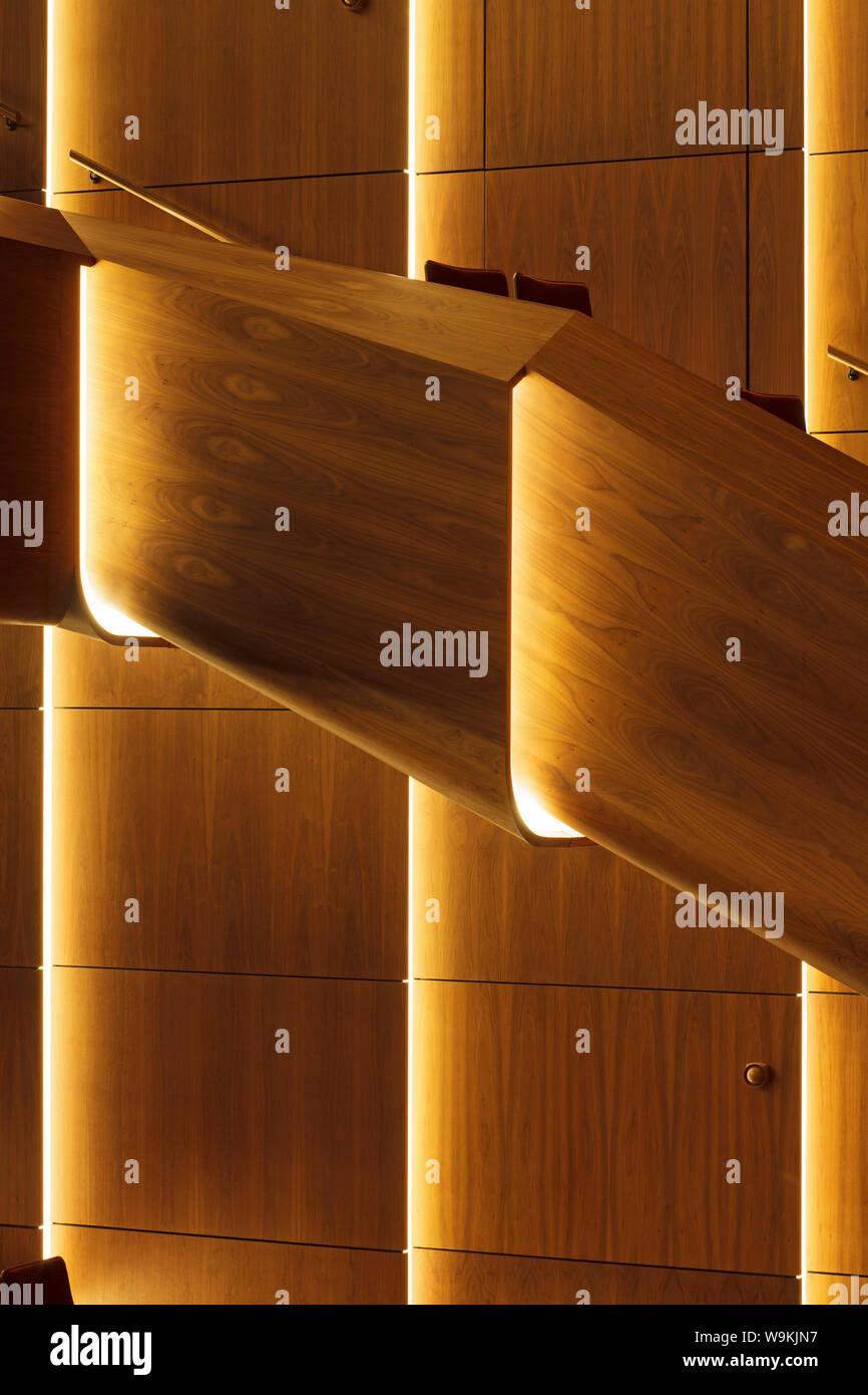 Sistemi Di Illuminazione A Led dettaglio del noce nero-placcati auditorium principale con