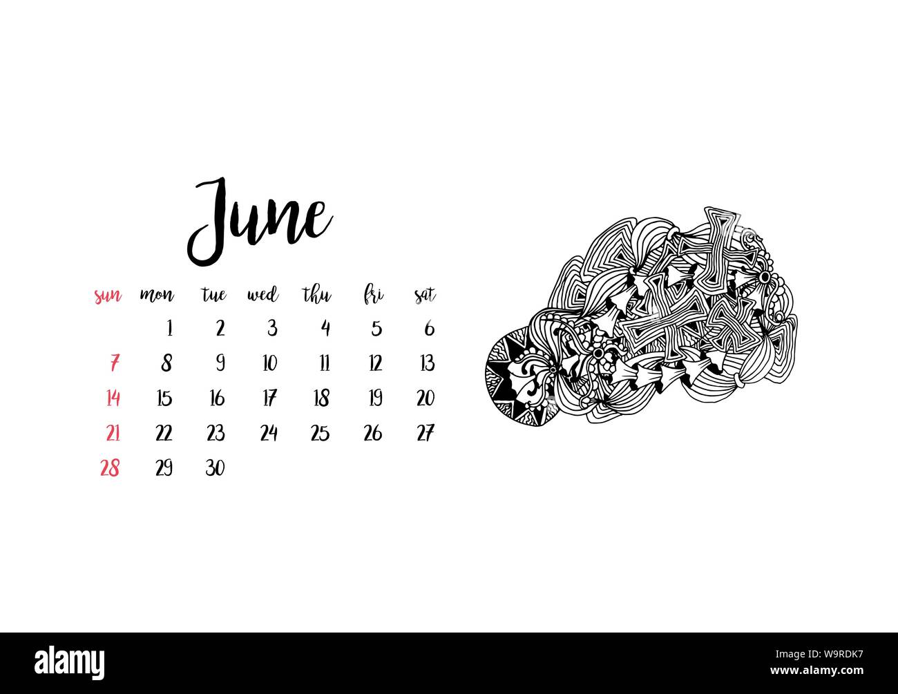 Calendario Mese Giugno 2020.Scrivania Mensile Calendario Modello Orizzontale 2020 Per Il